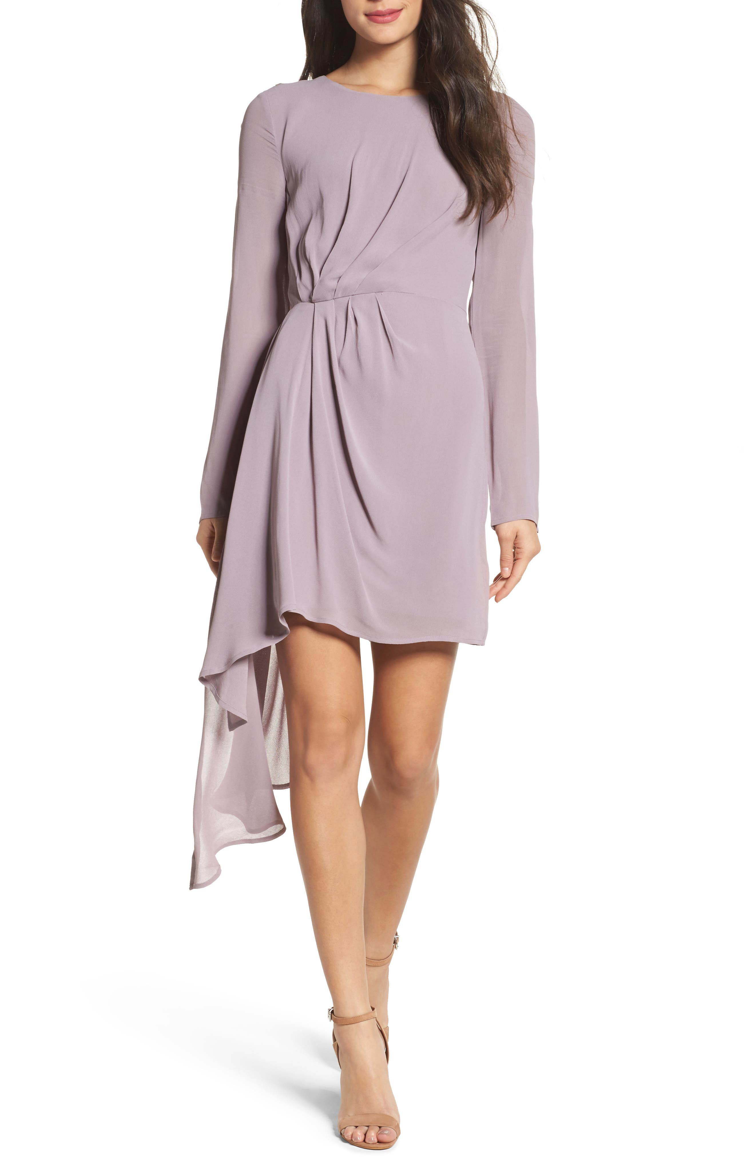 Stilla Asymmetric Drape Dress,                         Main,                         color, Dove