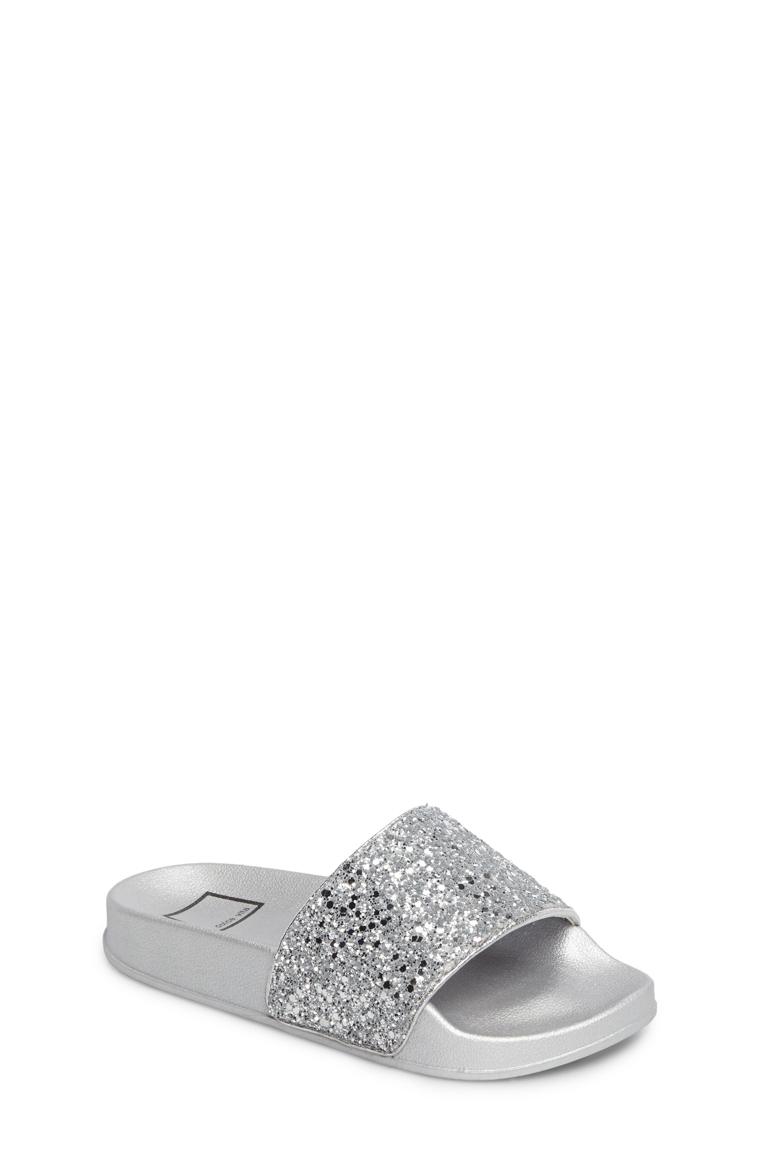 Shorty Glittery Pool Slide,                         Main,                         color, Silver