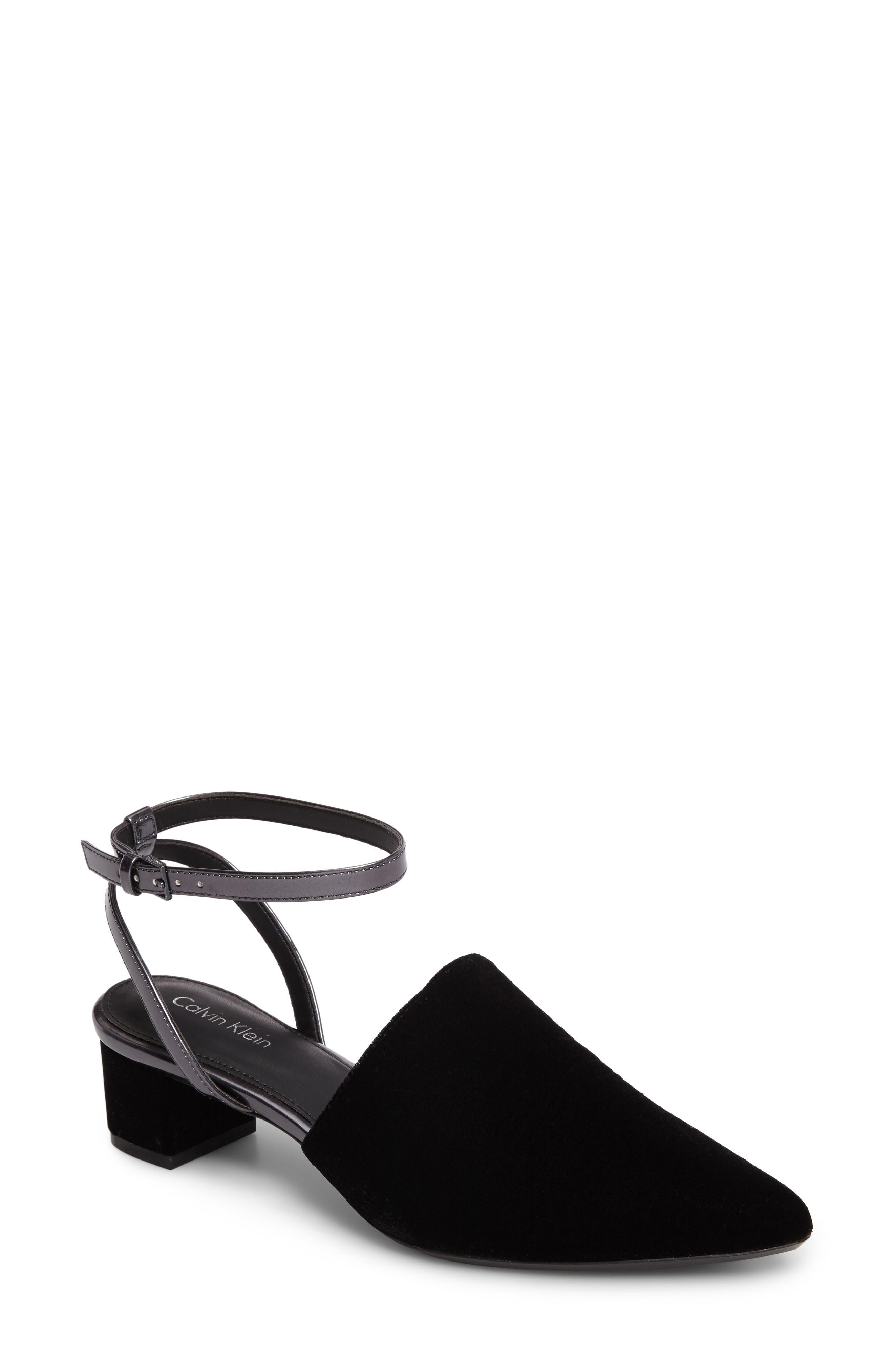 Ginetta Ankle Strap Pump,                             Main thumbnail 1, color,                             Black/ Navy Velvet