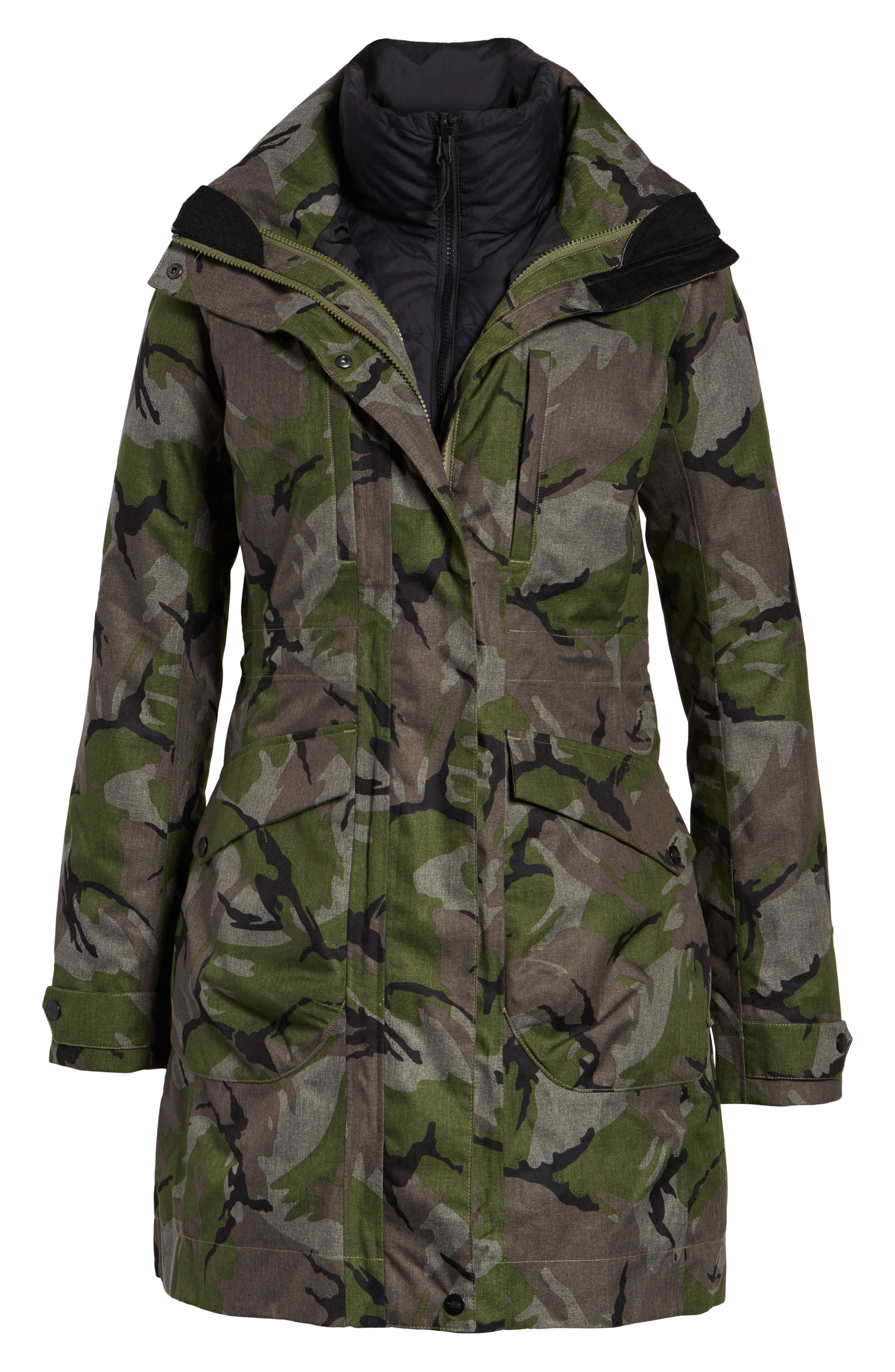Outer Boroughs 3-in-1 TriClimate<sup>®</sup> Waterproof Jacket with Faux Fur Trim,                             Alternate thumbnail 7, color,                             Burnt Olive Green Disrupt Camo