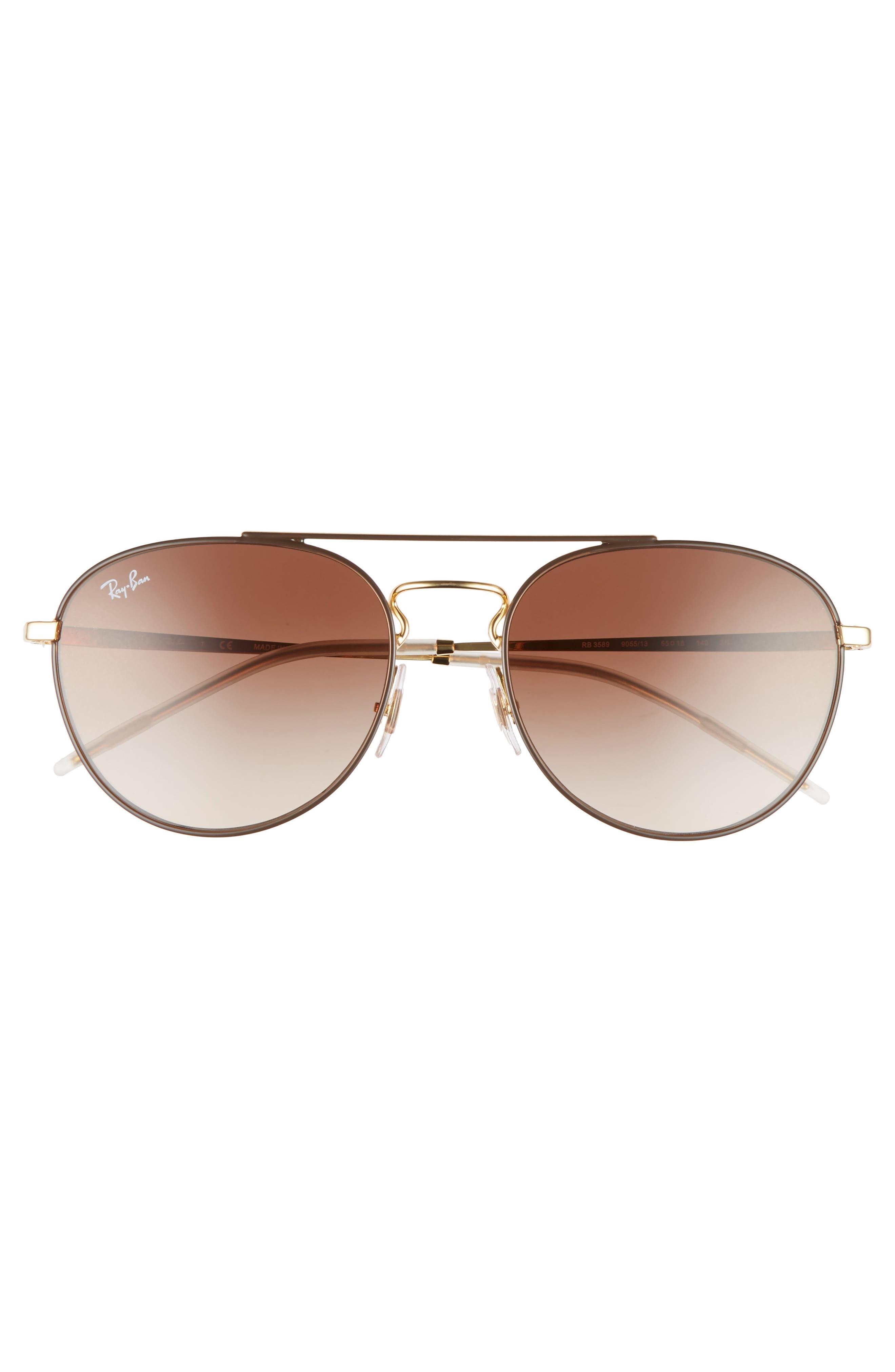 55mm Gradient Lens Round Aviator Sunglasses,                             Alternate thumbnail 3, color,                             Gold Brown