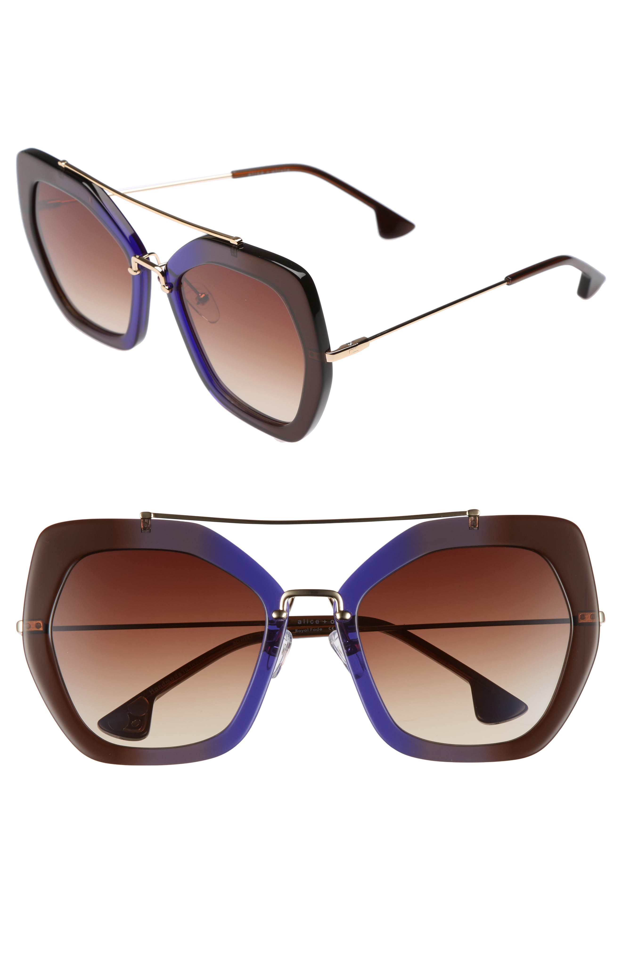 Alternate Image 1 Selected - Alice + Olivia Bowery 55mm Geometric Sunglasses