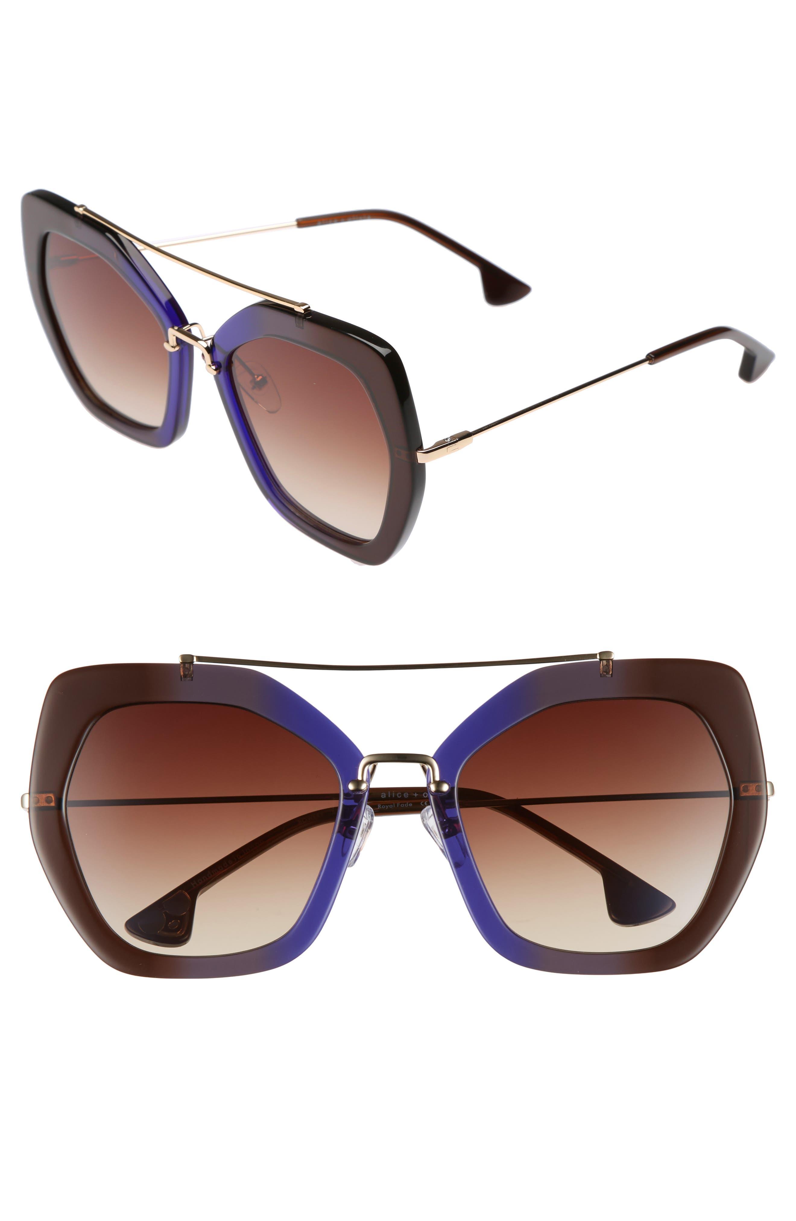 Main Image - Alice + Olivia Bowery 55mm Geometric Sunglasses