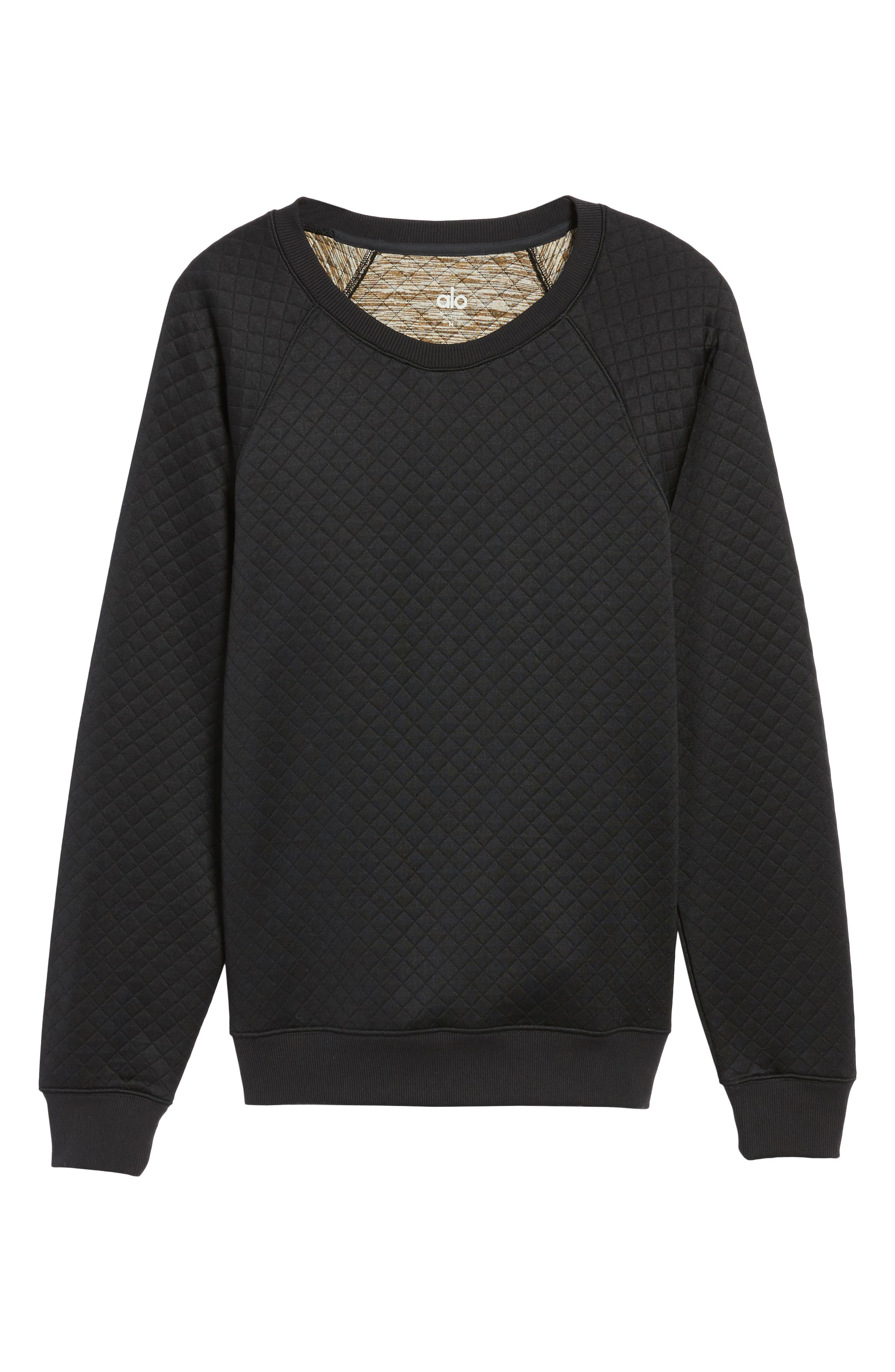 Yama Relaxed Slim Fit Quilted Sweatshirt,                             Alternate thumbnail 6, color,                             Black