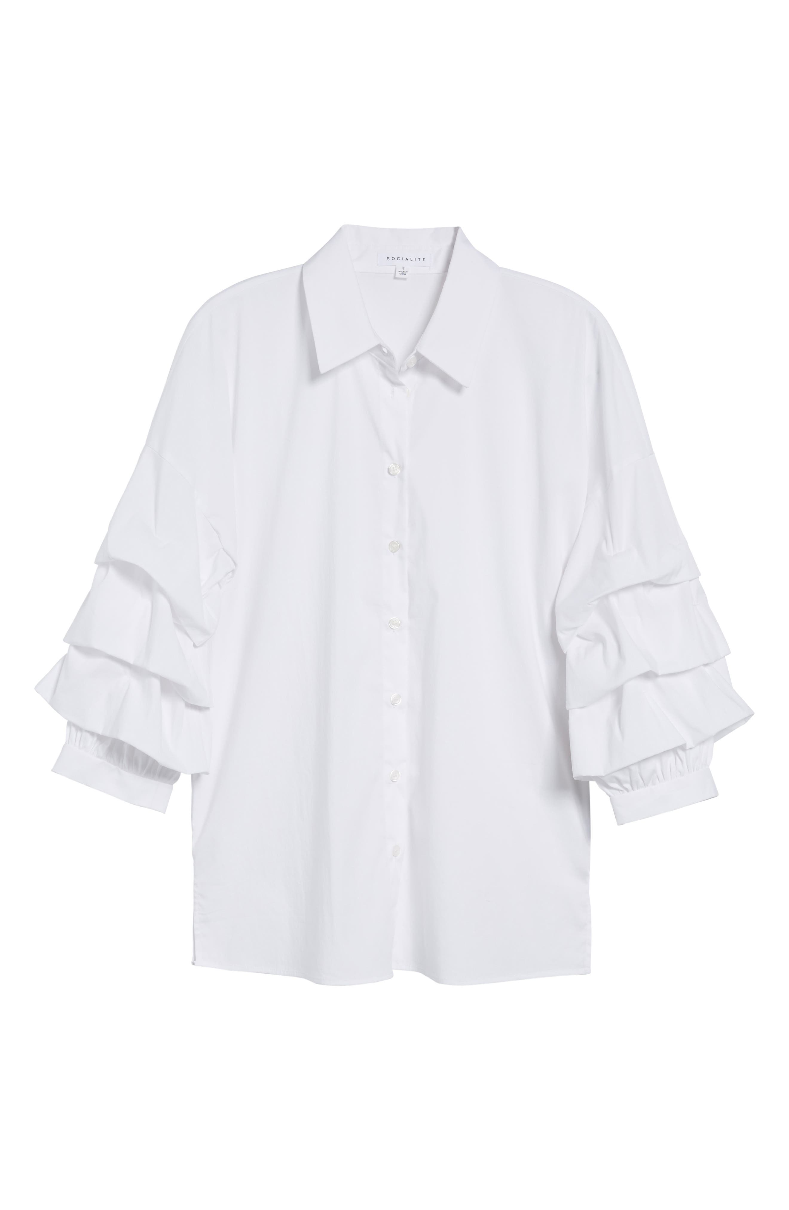 Ruched Sleeve Shirt,                             Alternate thumbnail 6, color,                             White