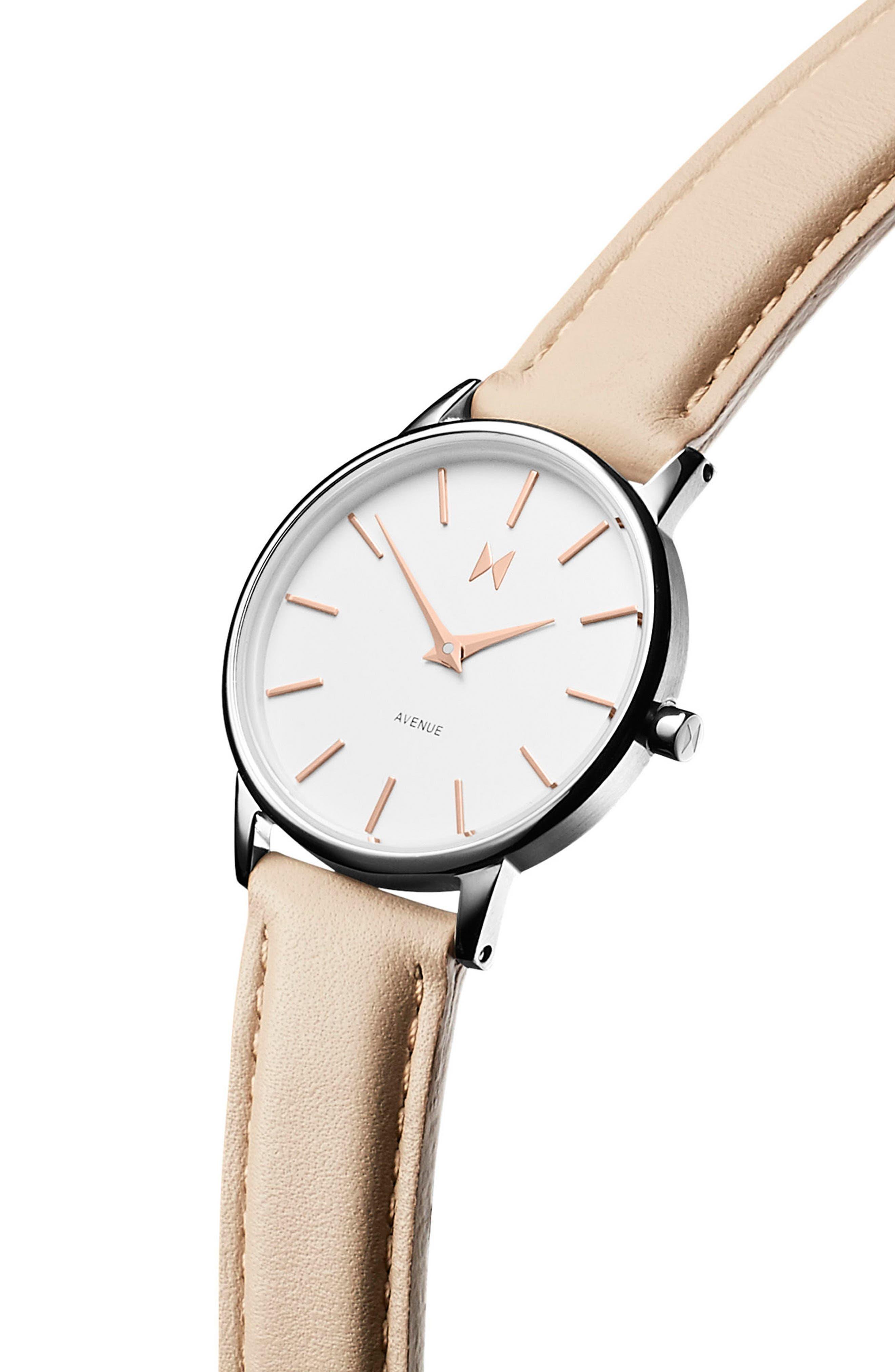 Belamar Leather Strap Watch, 28mm,                             Alternate thumbnail 3, color,                             Creme/ White/ Silver
