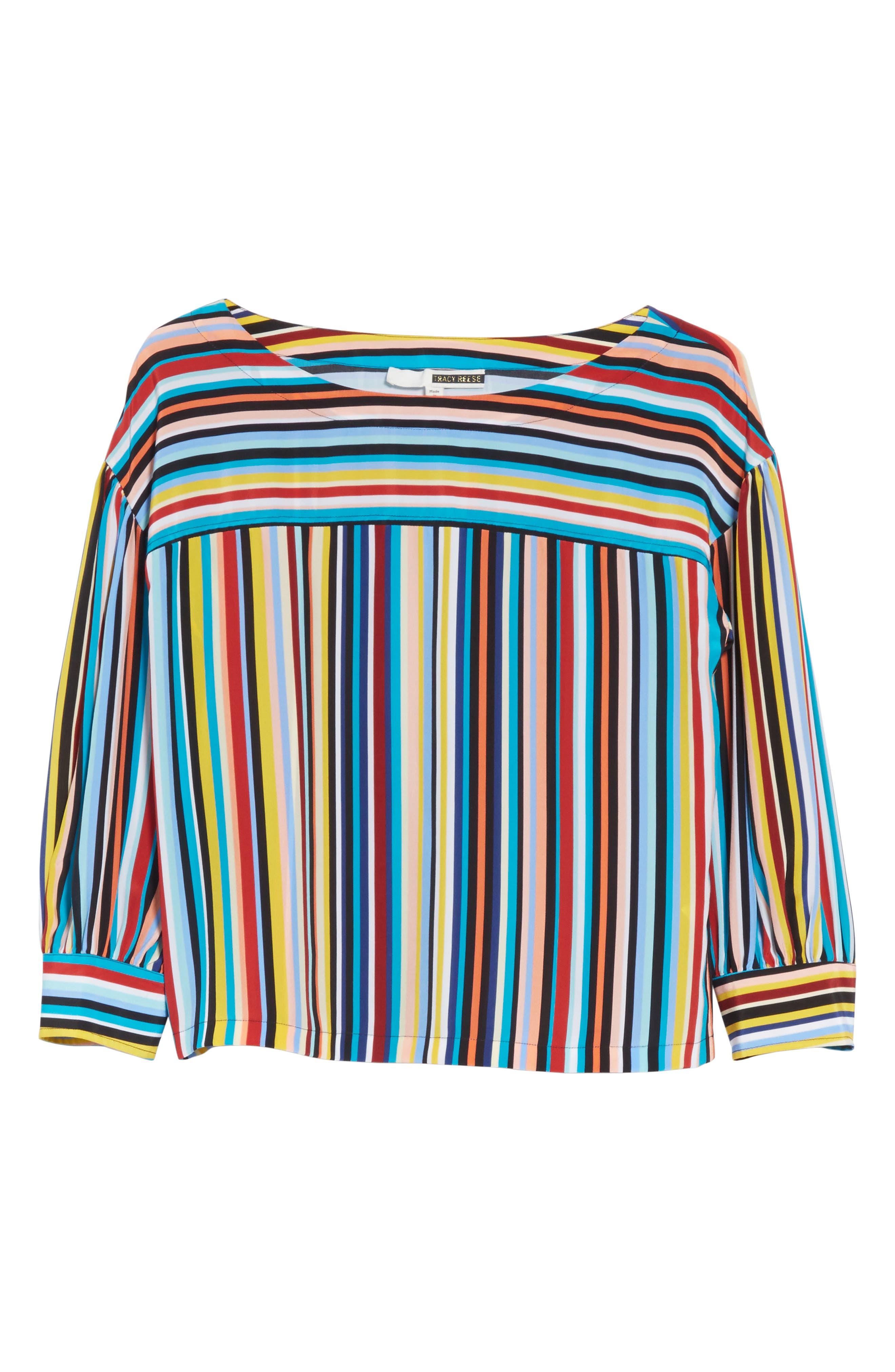 Stripe Silk Top,                             Alternate thumbnail 6, color,                             Skinny Stripes