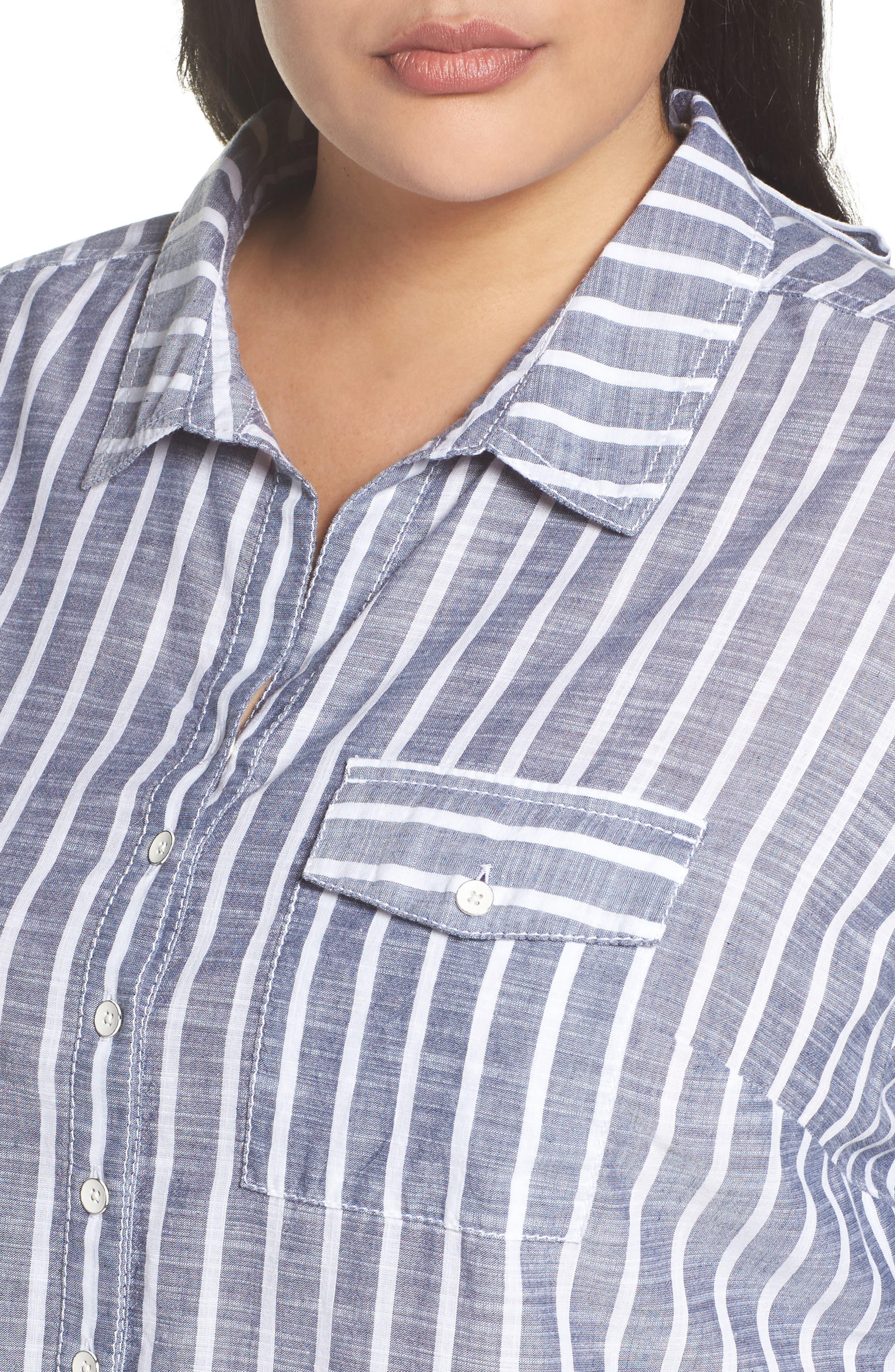 Tie Neck Cotton Tunic,                             Alternate thumbnail 5, color,                             Navy- White Stripe
