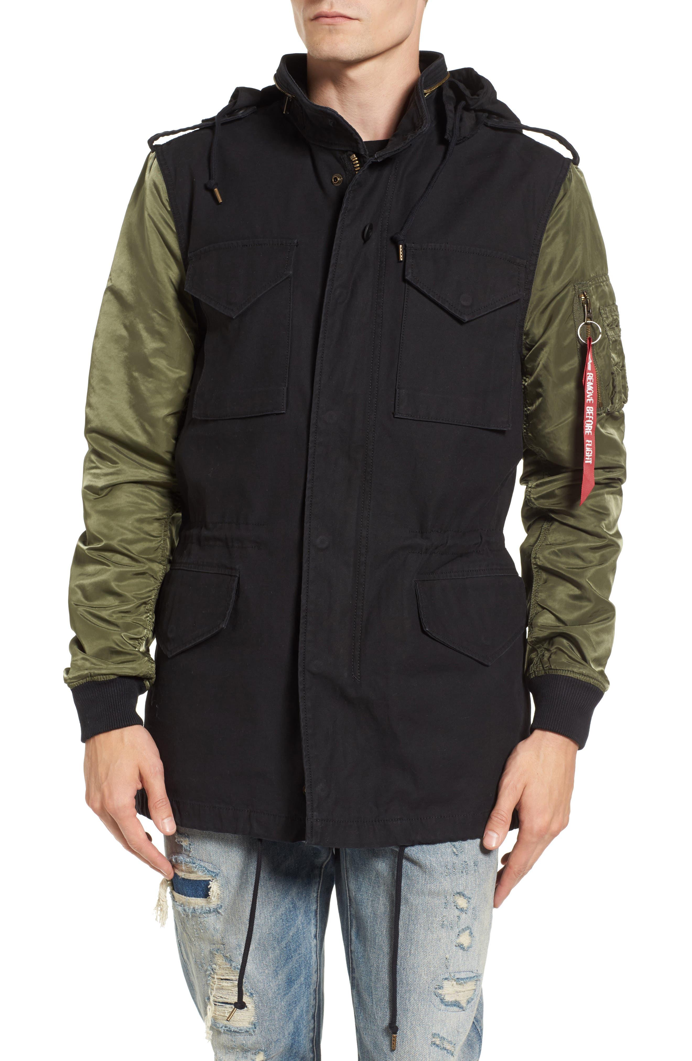 Fusion Field Coat,                             Alternate thumbnail 4, color,                             Black/ Sage