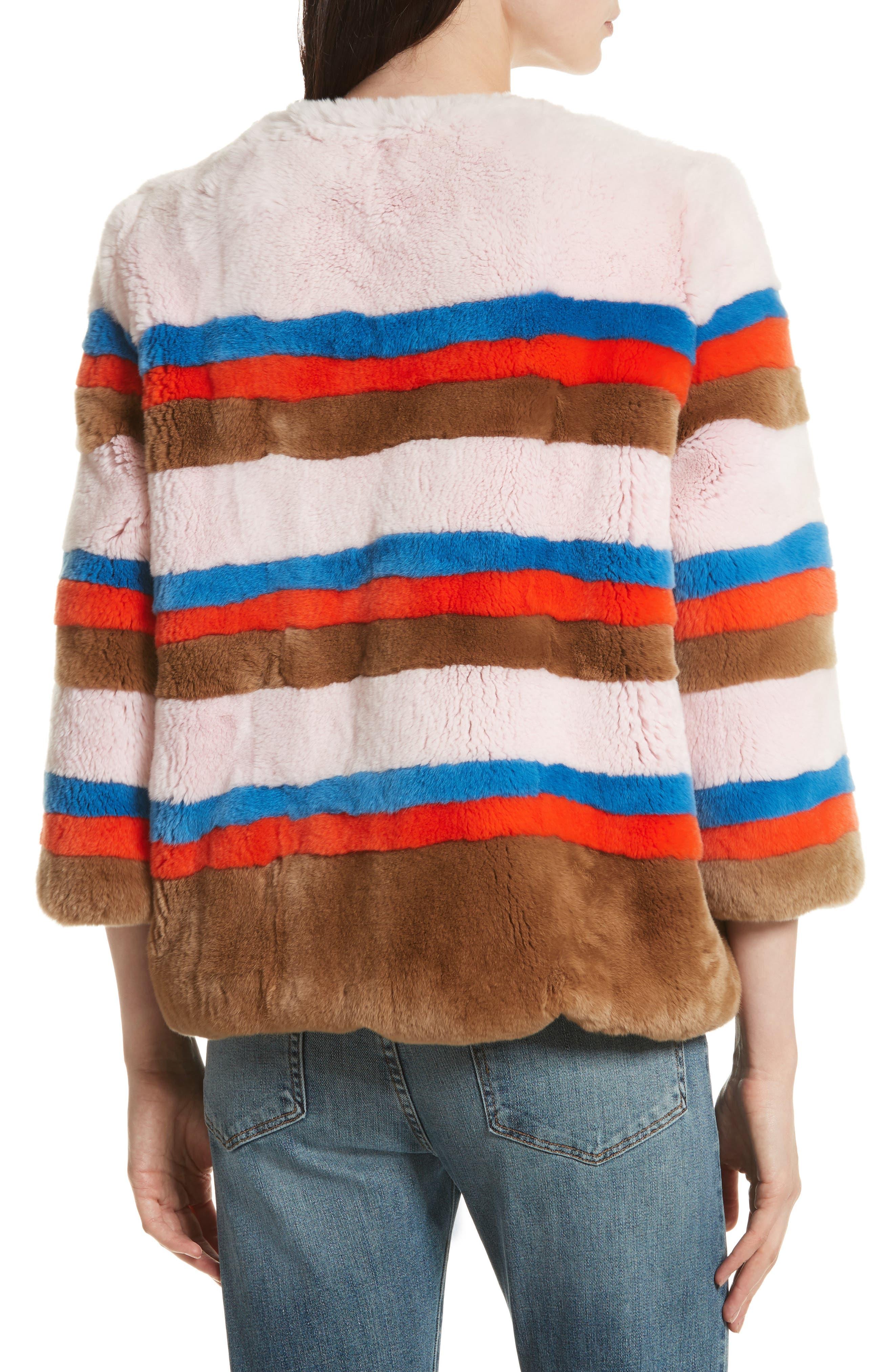 The Betty Genuine Rabbit Fur Jacket,                             Alternate thumbnail 2, color,                             Pink Vicuna Poppy Royal