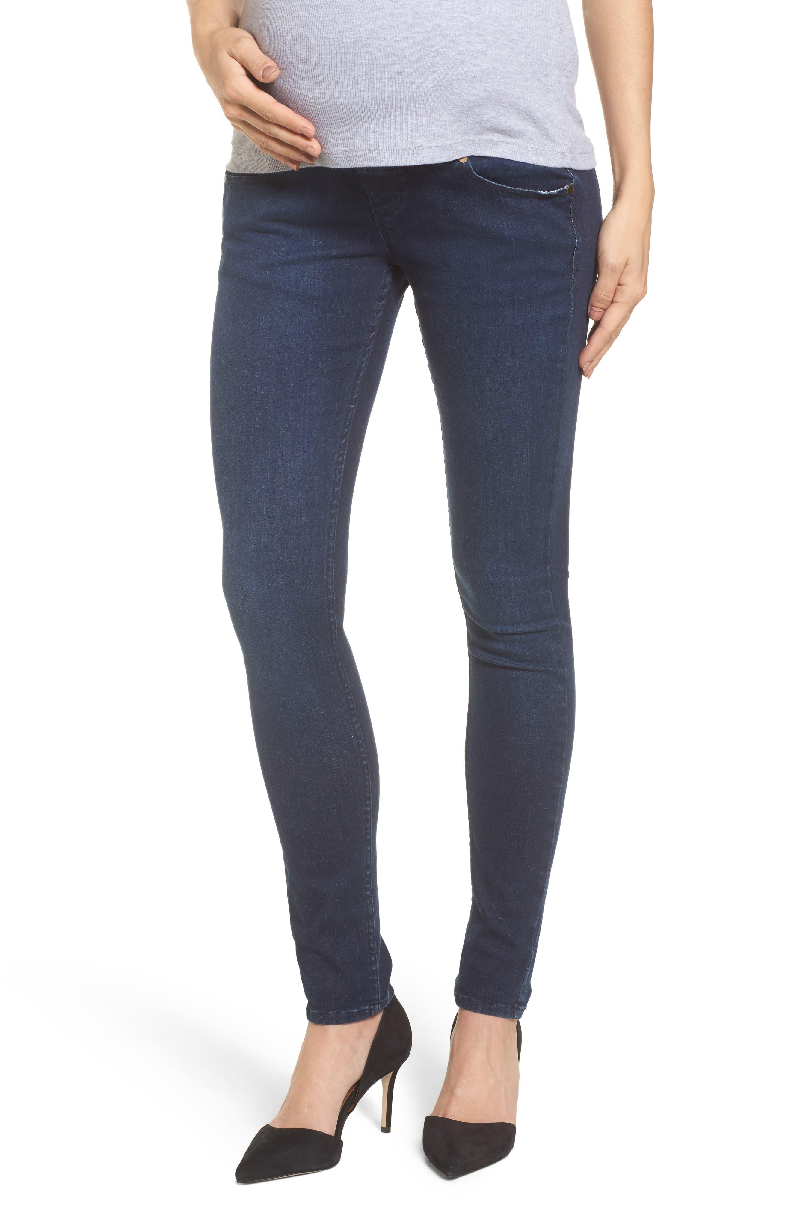Super Stretch Maternity Skinny Jeans,                             Main thumbnail 1, color,                             Indigo