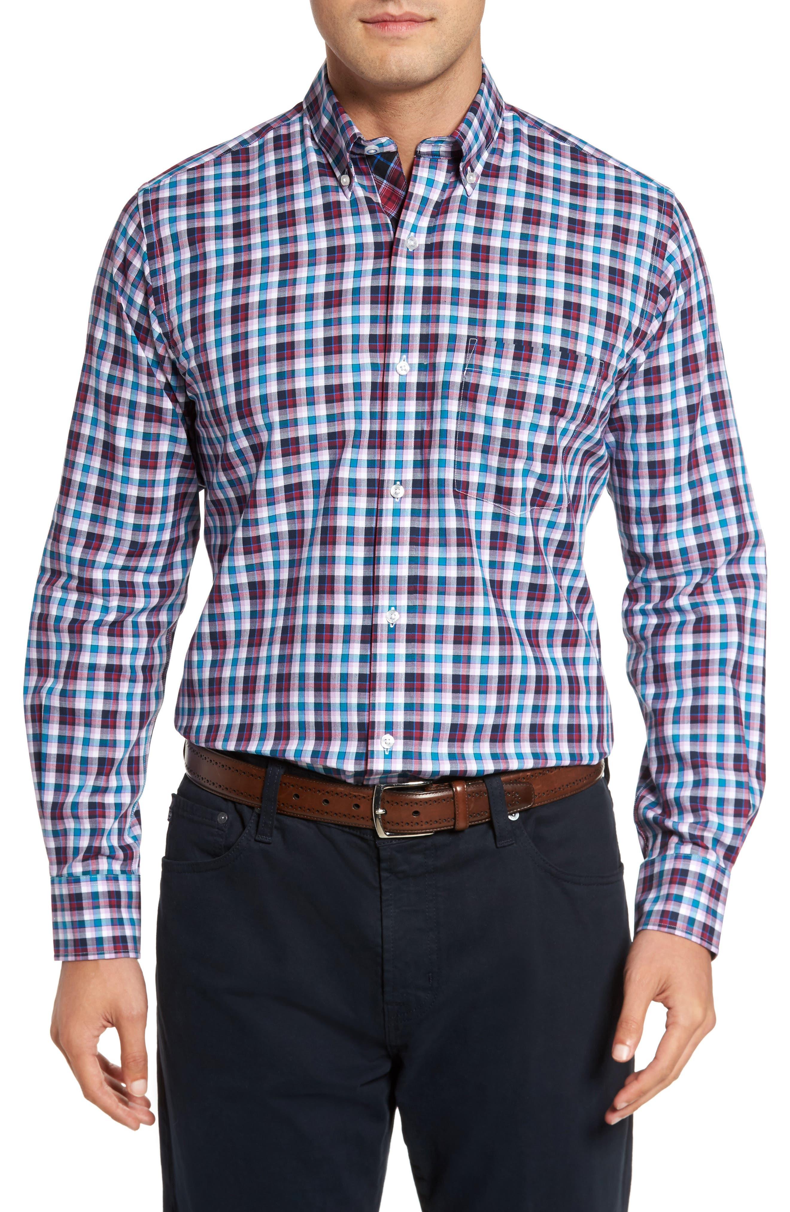 Coushatta Plaid Sport Shirt,                         Main,                         color, Purple
