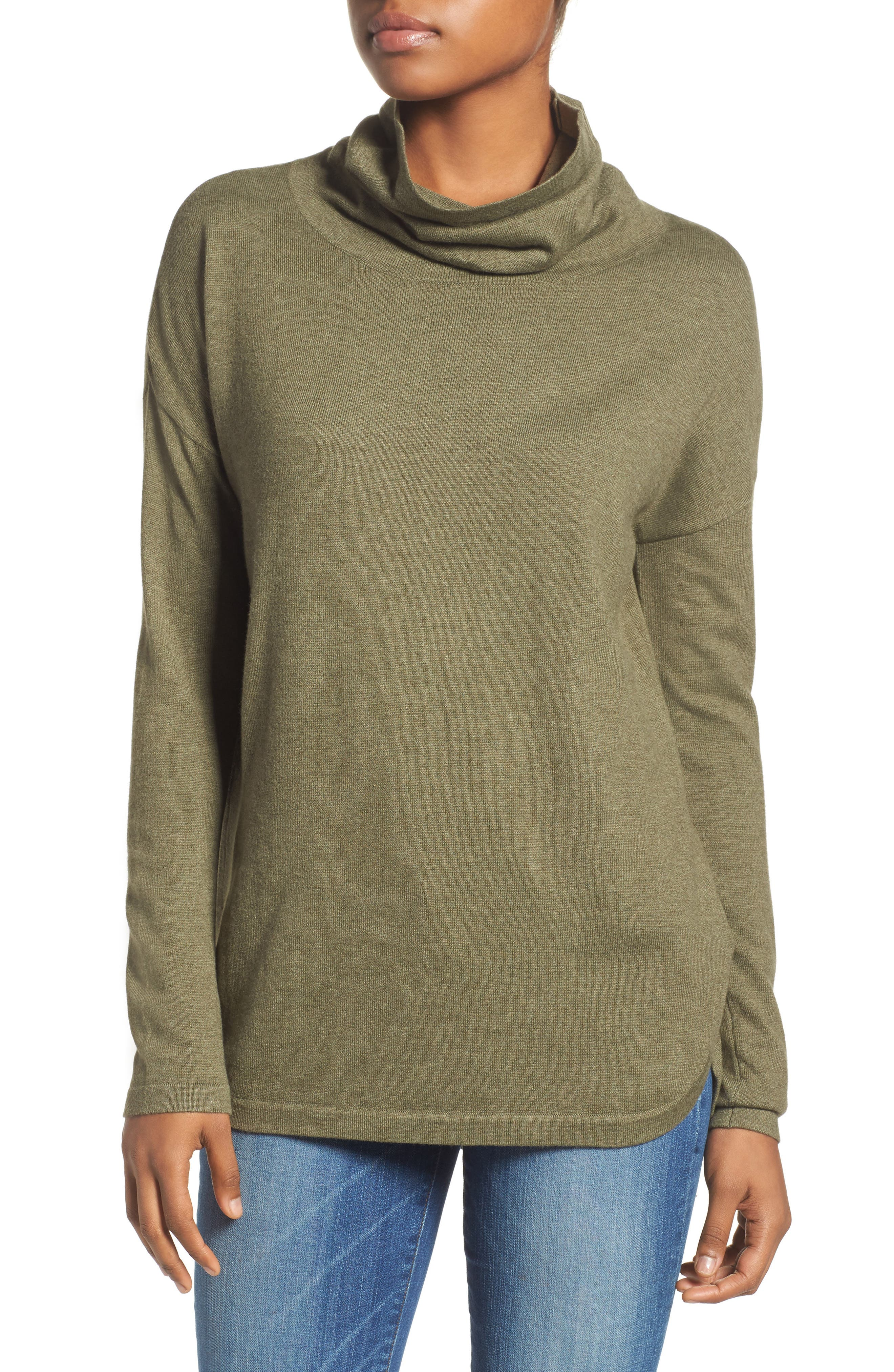 Woodland Tunic Sweater,                             Main thumbnail 1, color,                             Burnt Olive Green Heather