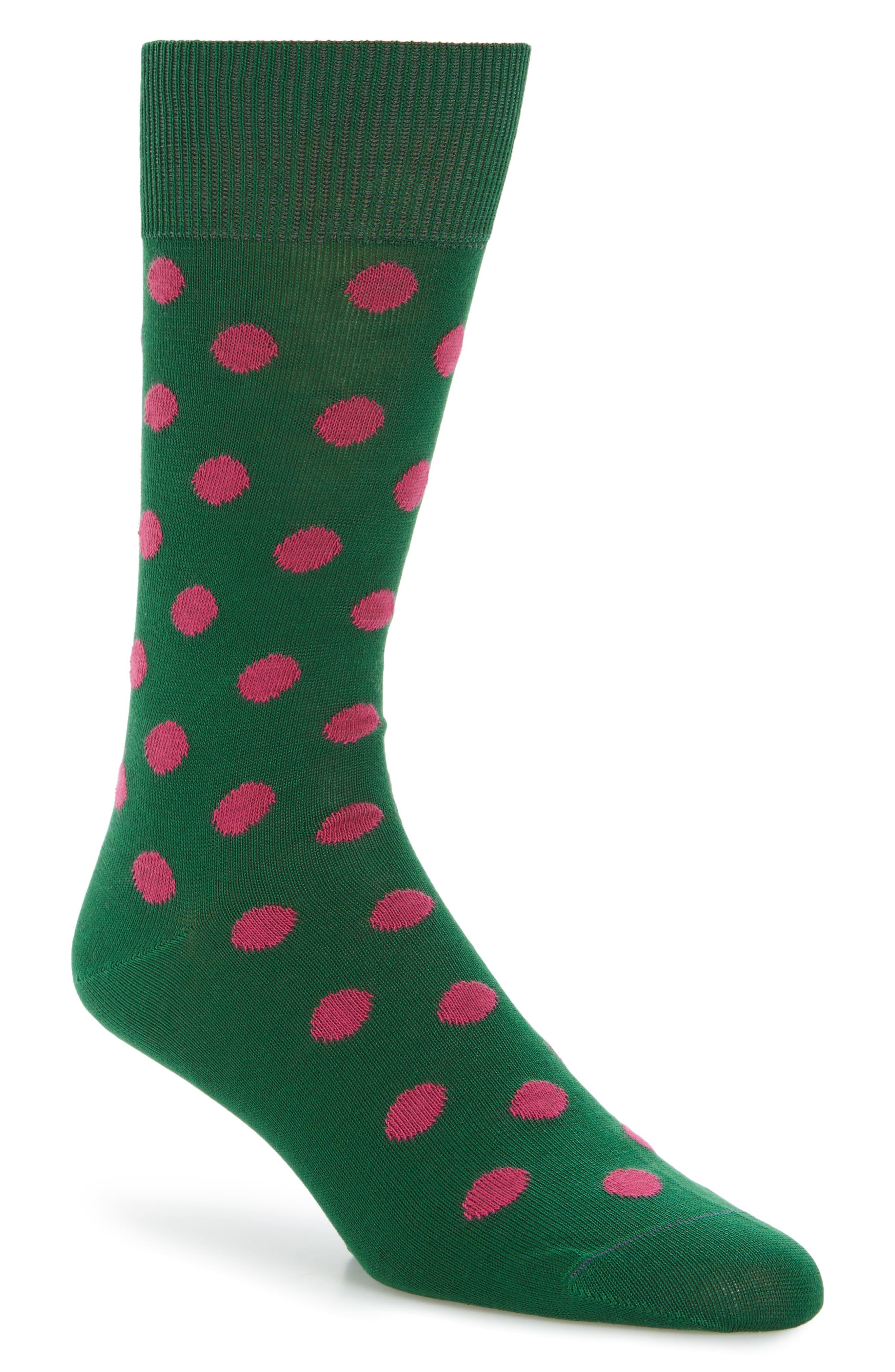 Bright Polka Dot Socks,                         Main,                         color, Green