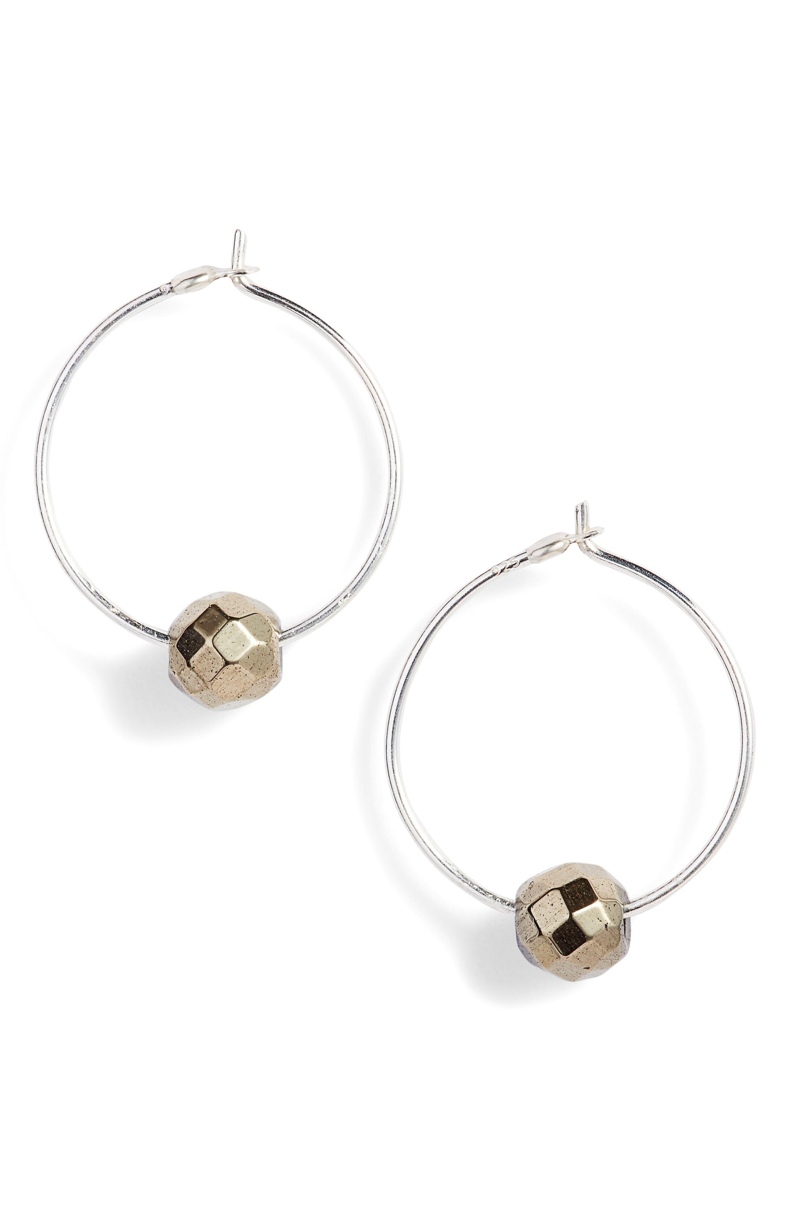 Labradorite Floating Hoop Earrings,                         Main,                         color, Pyrite/ Silver