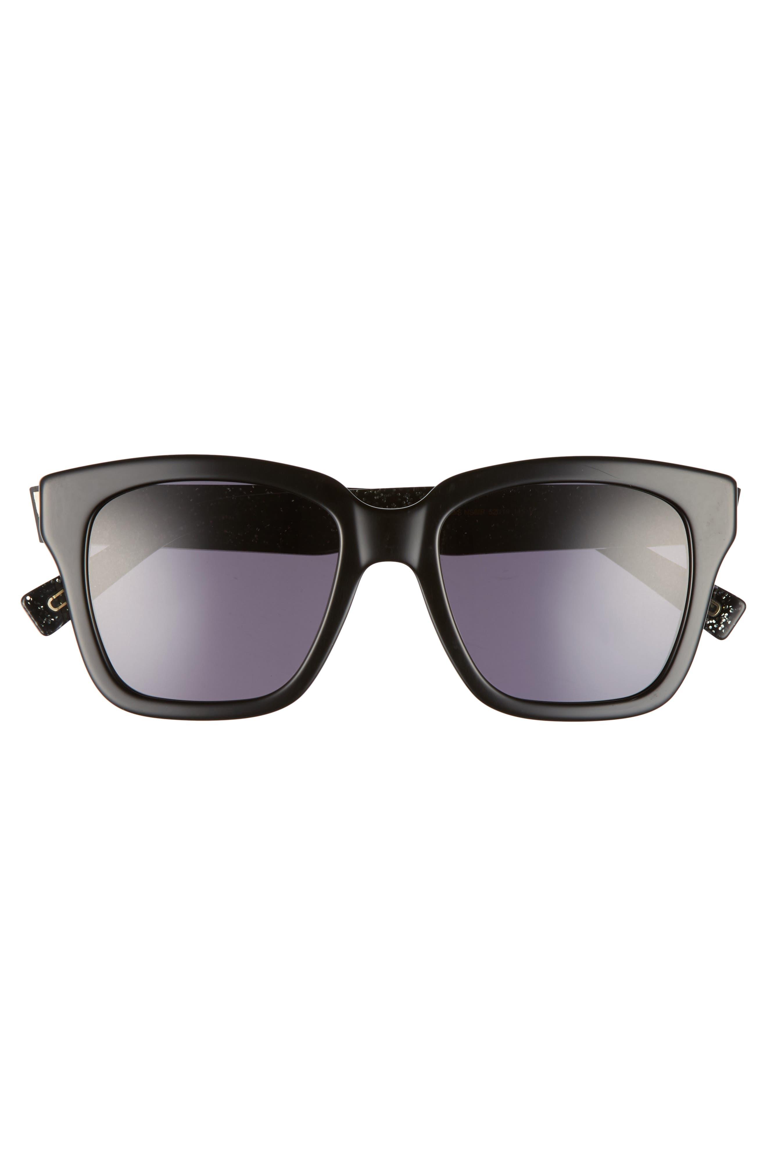 52mm Square Sunglasses,                             Alternate thumbnail 3, color,                             Black Glitter/ Gray Blue