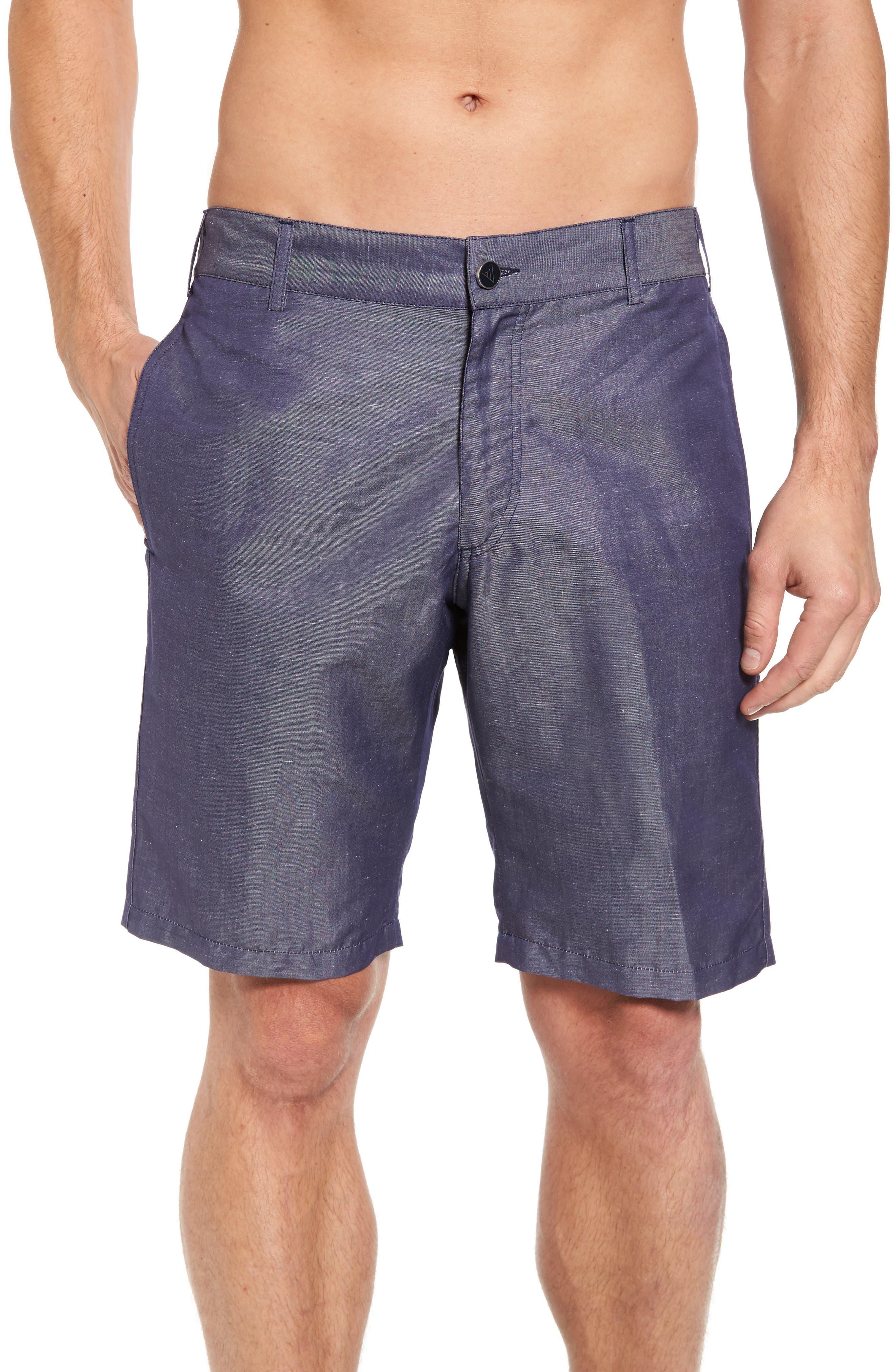 Linen Blend Bermuda Shorts,                             Alternate thumbnail 4, color,                             Blue Jean