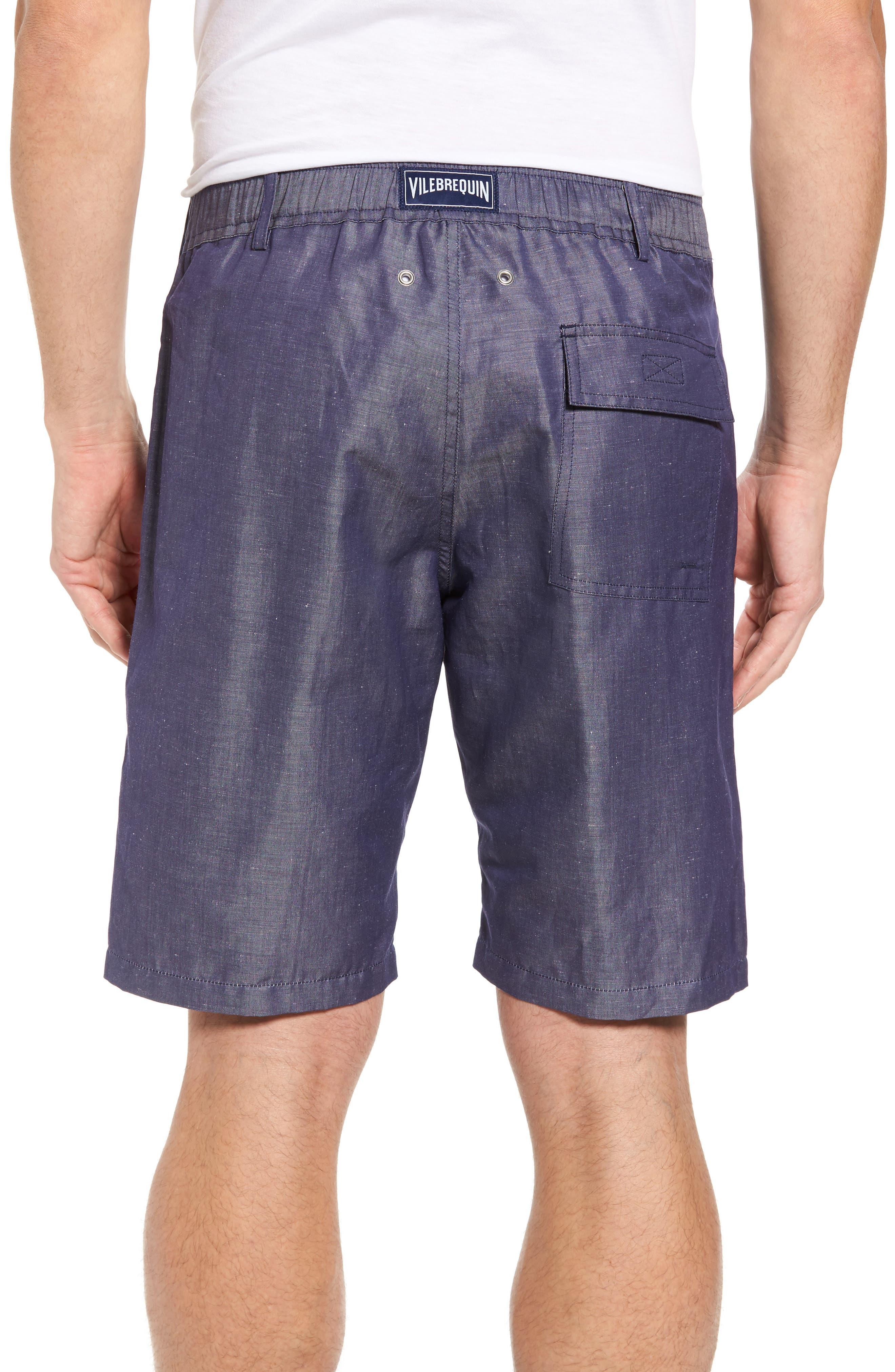 Linen Blend Bermuda Shorts,                             Alternate thumbnail 2, color,                             Blue Jean