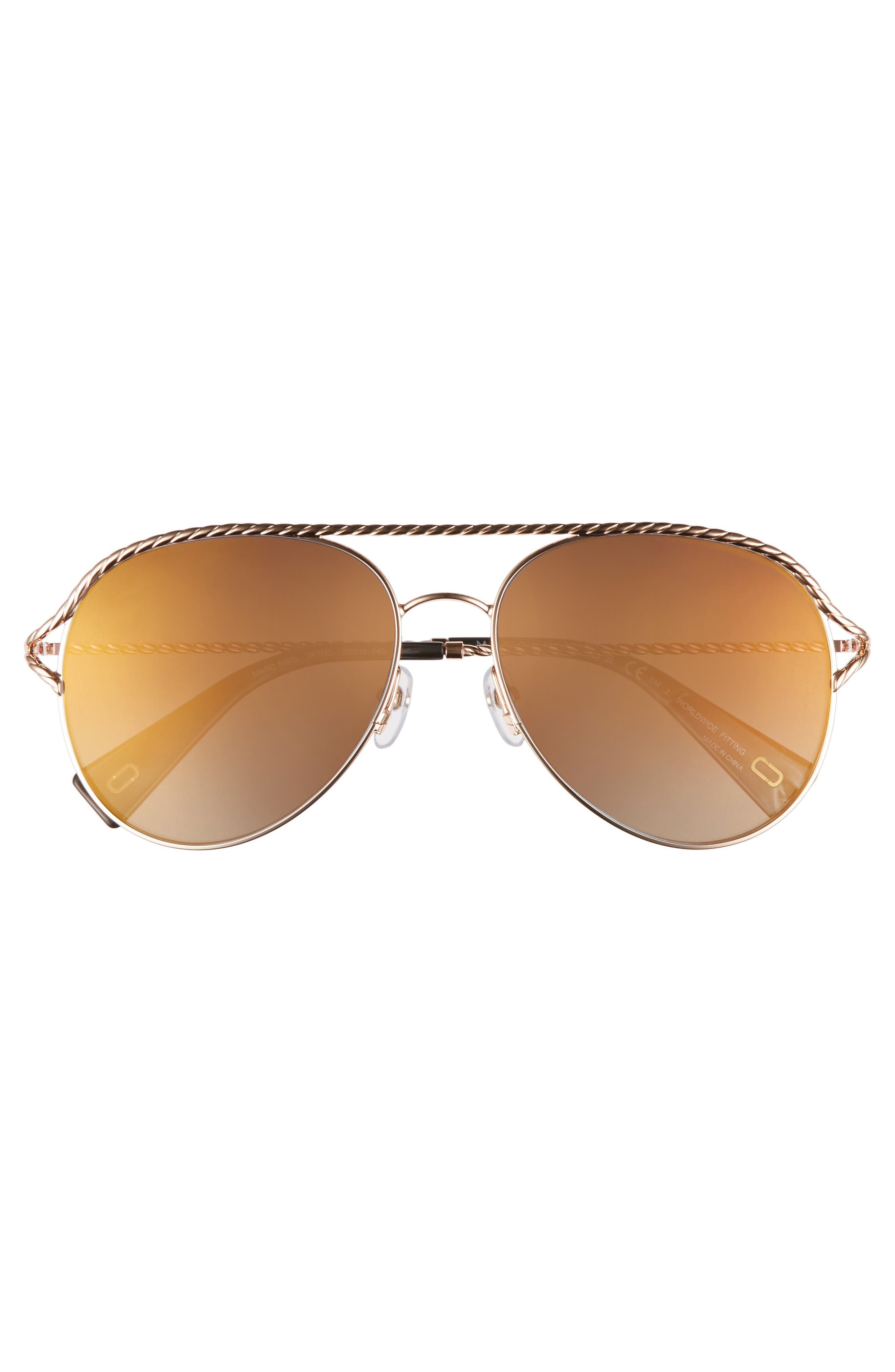 58mm Aviator Sunglasses,                             Alternate thumbnail 3, color,                             Antique Gold Green