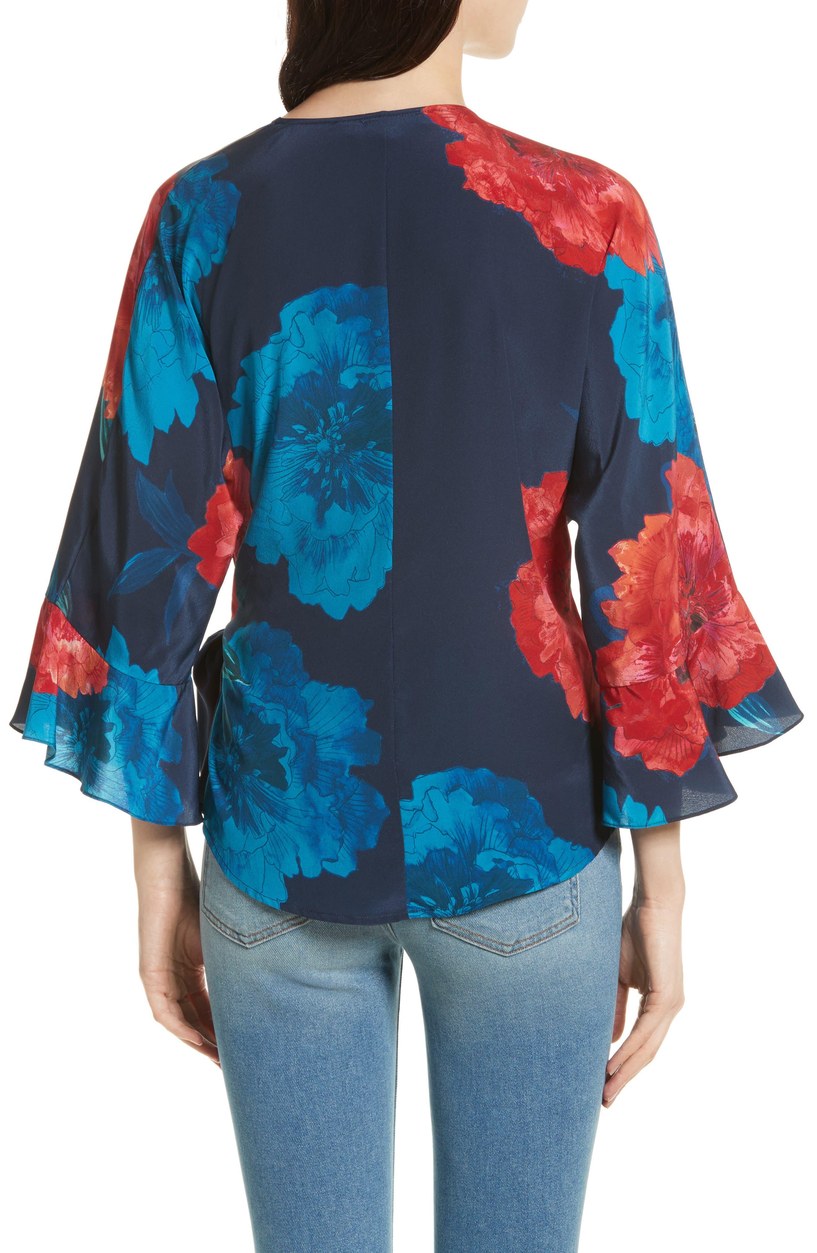 Floral Surplice Silk Blouse,                             Alternate thumbnail 2, color,                             Large Red Blossoms
