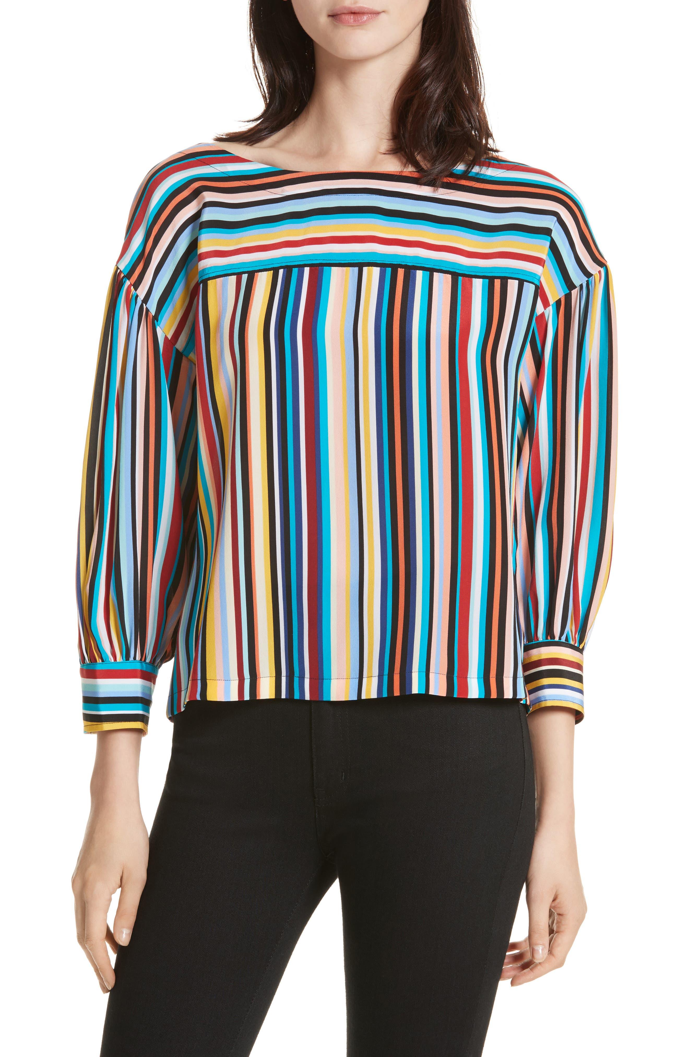 Stripe Silk Top,                             Main thumbnail 1, color,                             Skinny Stripes