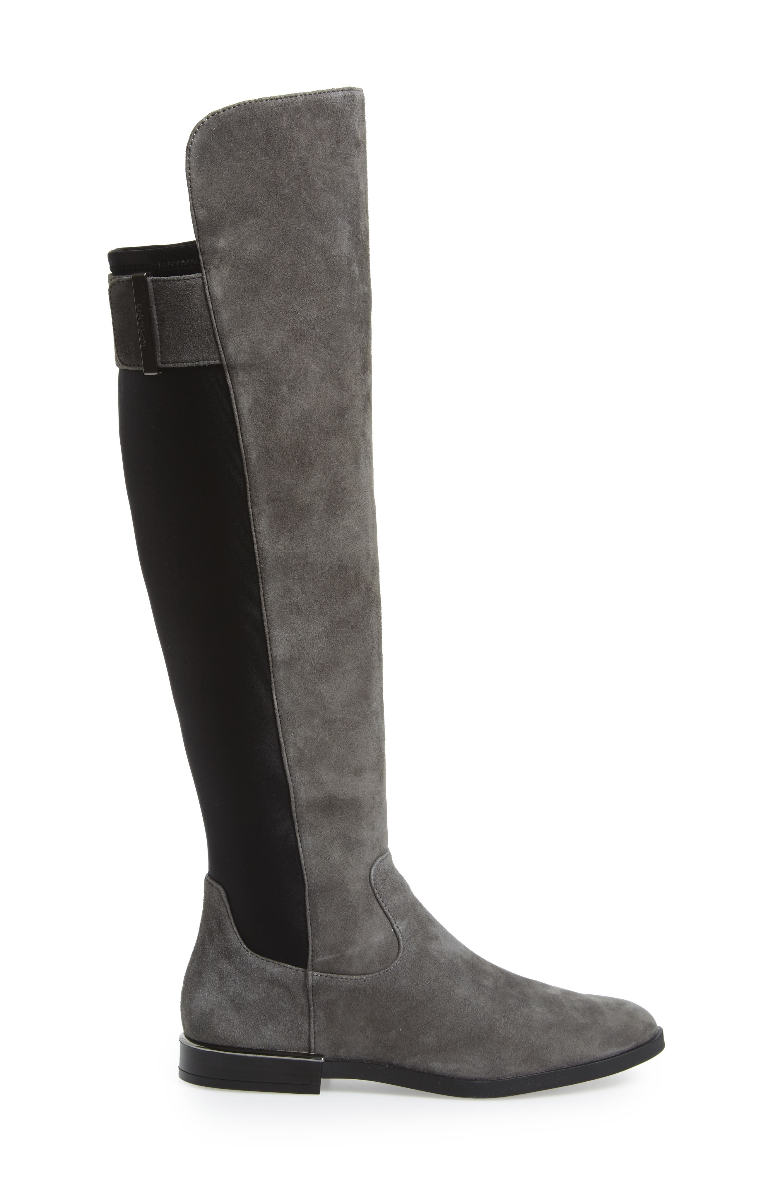 Priya Over the Knee Boot,                             Alternate thumbnail 3, color,                             Slate/ Black Suede