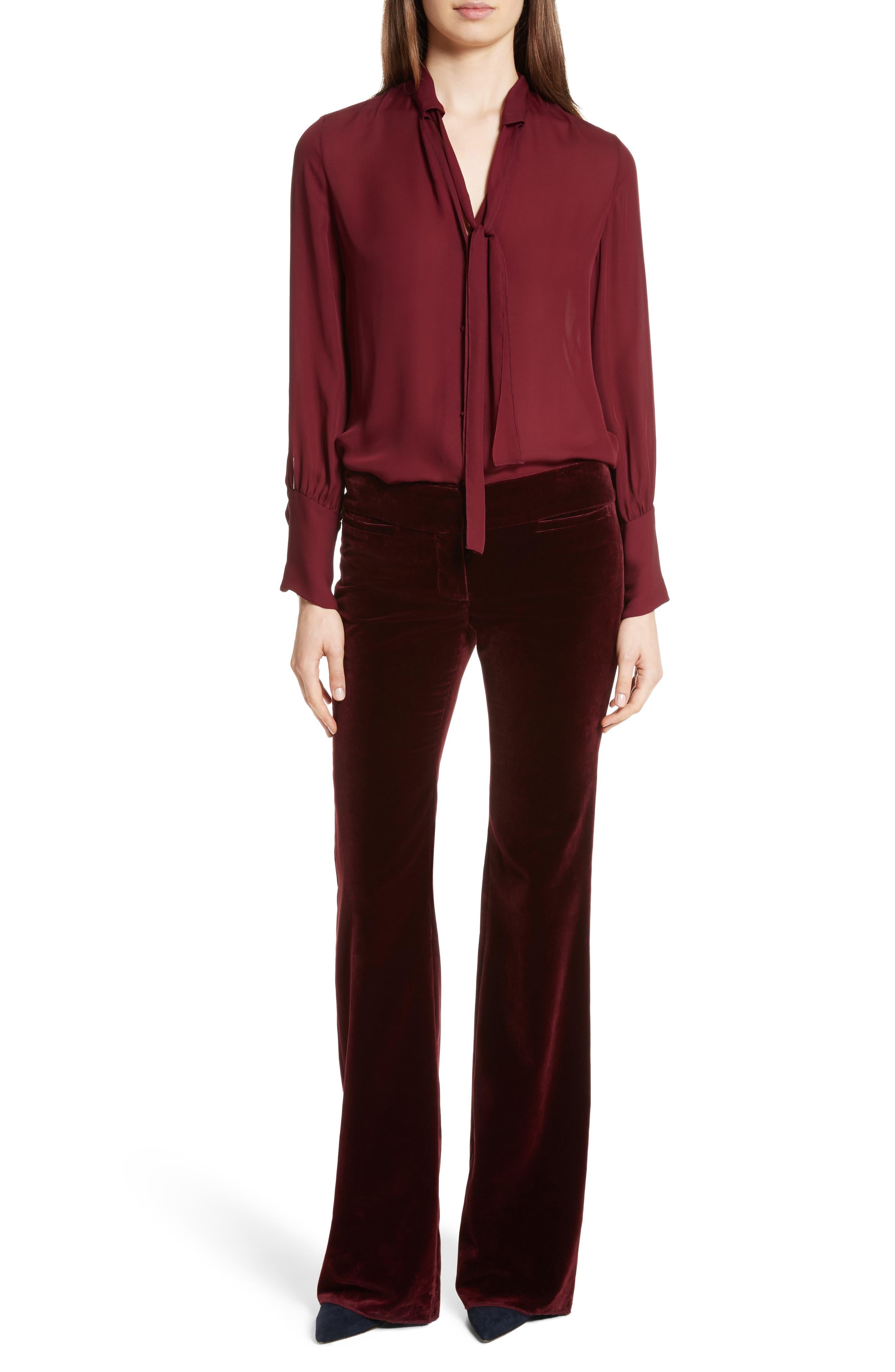Amoire Velvet Flare Pants,                             Alternate thumbnail 3, color,                             Burgundy