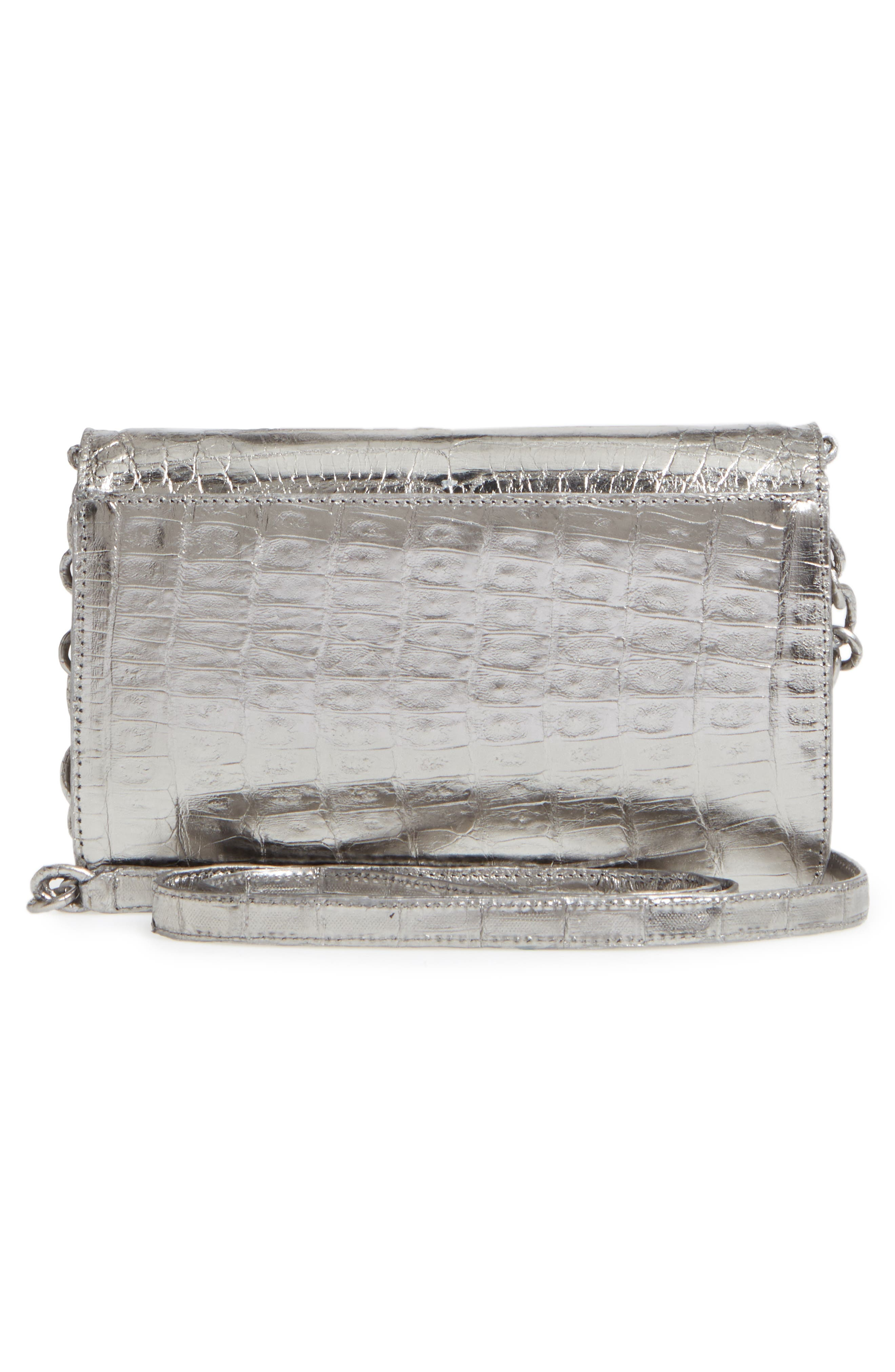 Genuine Crocodile Metallic Wallet on a Chain,                             Alternate thumbnail 3, color,                             Anthracite Mirror