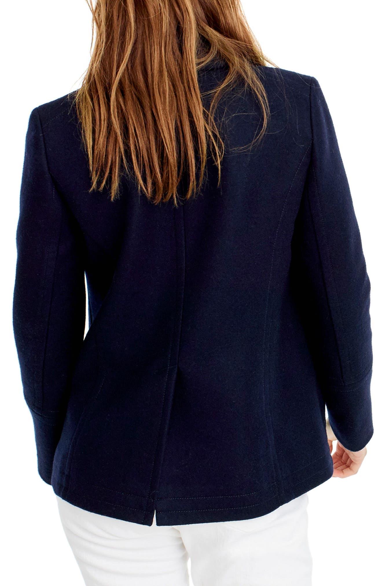 Alternate Image 2  - J.Crew Heritage Wool Blend Peacoat (Regular & Petite)