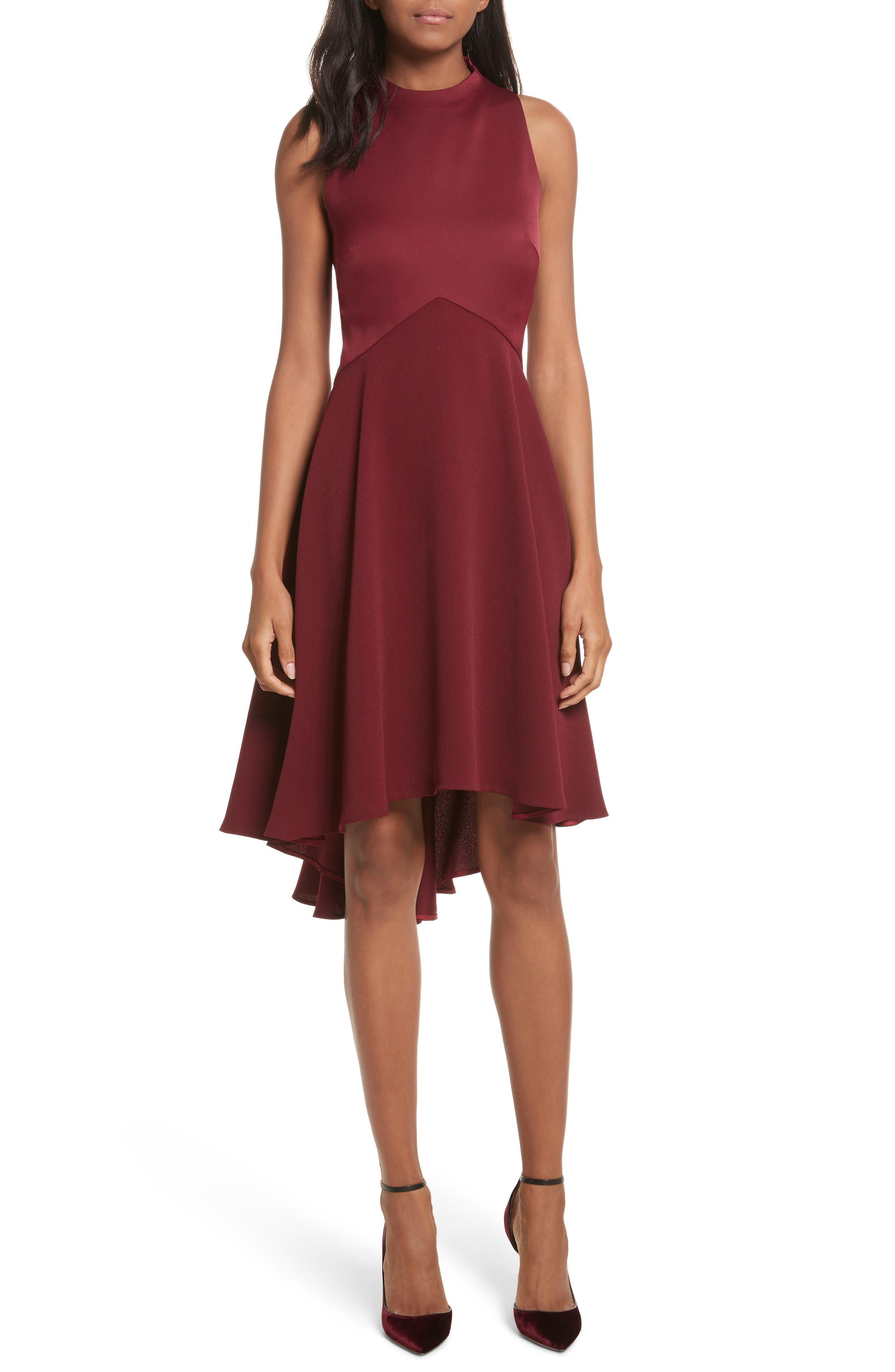 Mock Neck Fit & Flare Dress,                         Main,                         color, Maroon