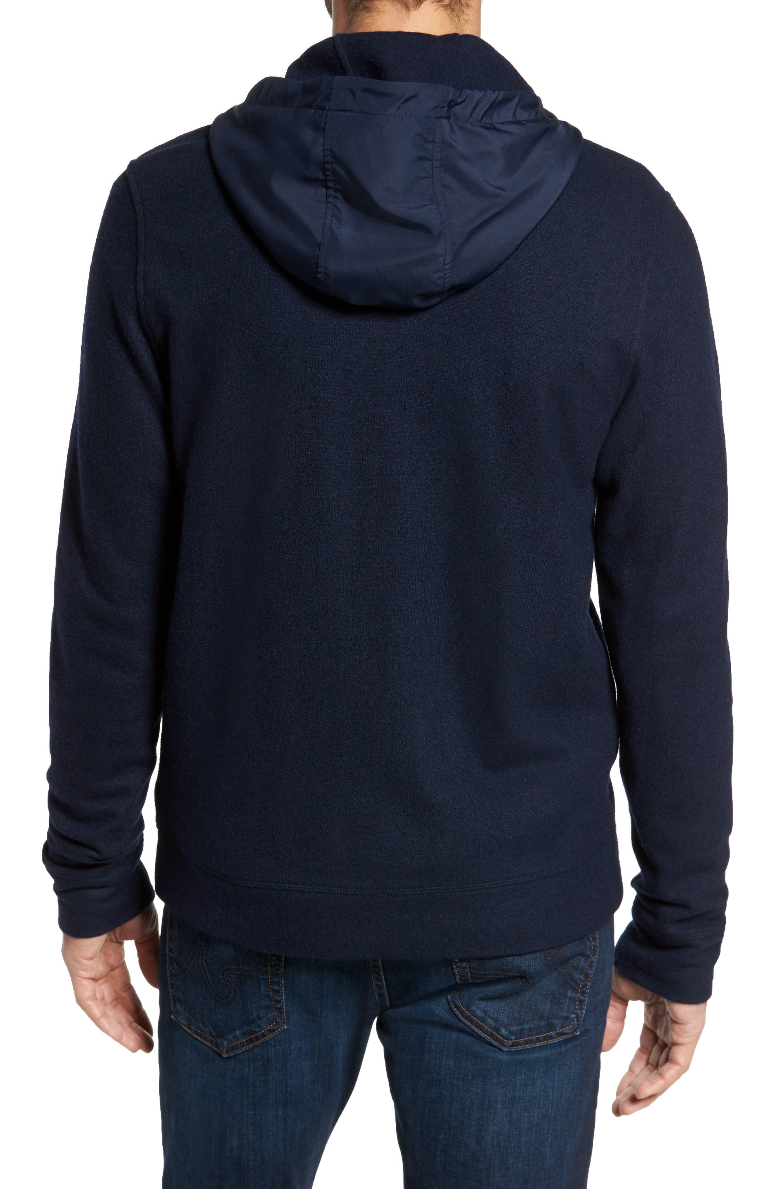 Wool Blend Hooded Cardigan,                             Alternate thumbnail 2, color,                             Navy Iris