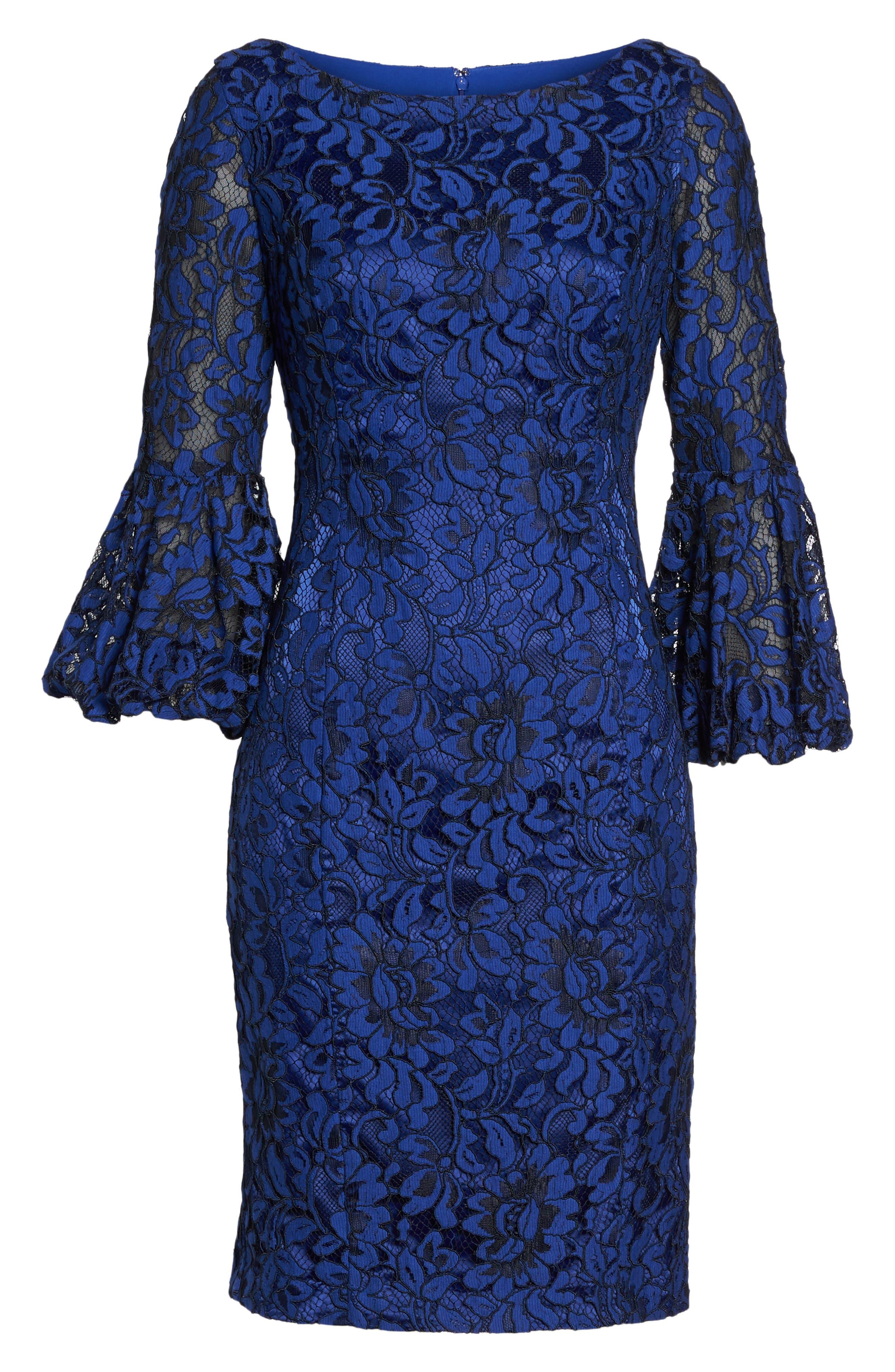 Bell Sleeve Lace Sheath Dress,                             Alternate thumbnail 5, color,                             Cobalt