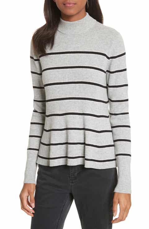 La Vie Rebecca Taylor Mock Neck Stripe Pullover