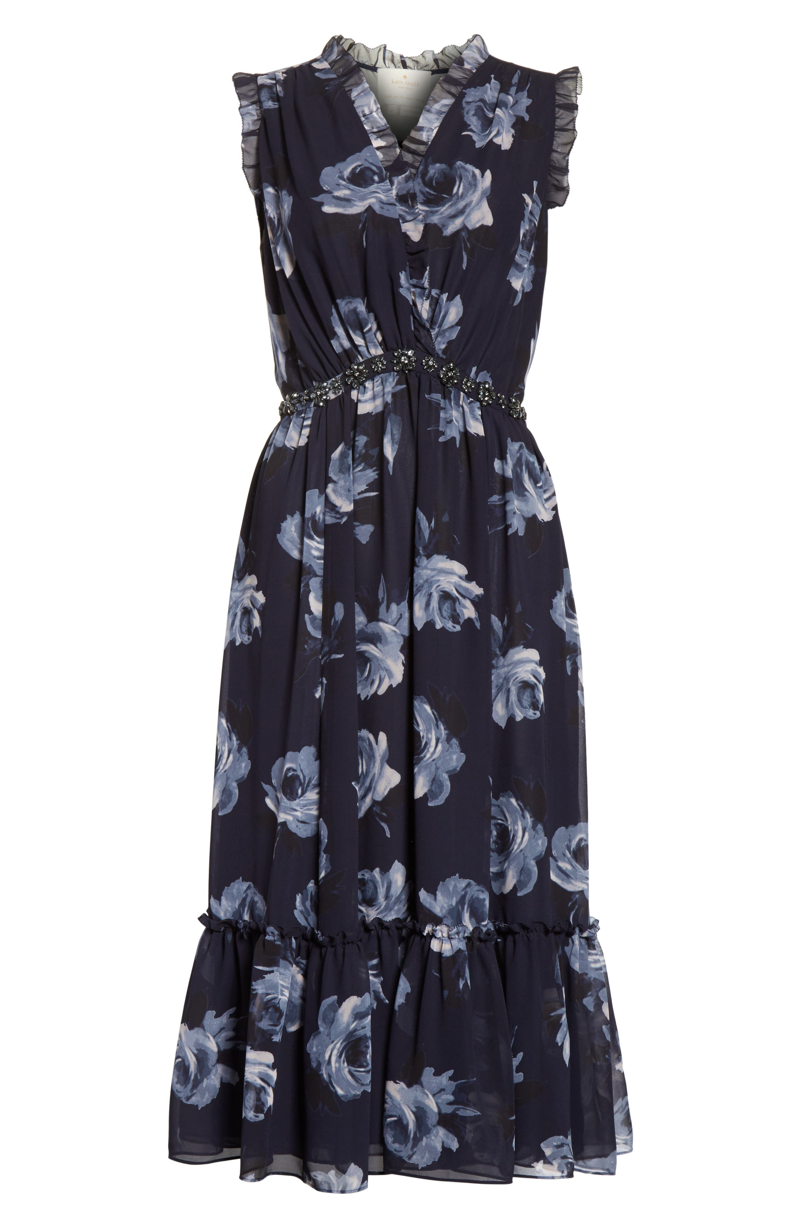 kade spade new york Night Rose Chiffon Midi Dress,                             Alternate thumbnail 6, color,                             Rich Navy