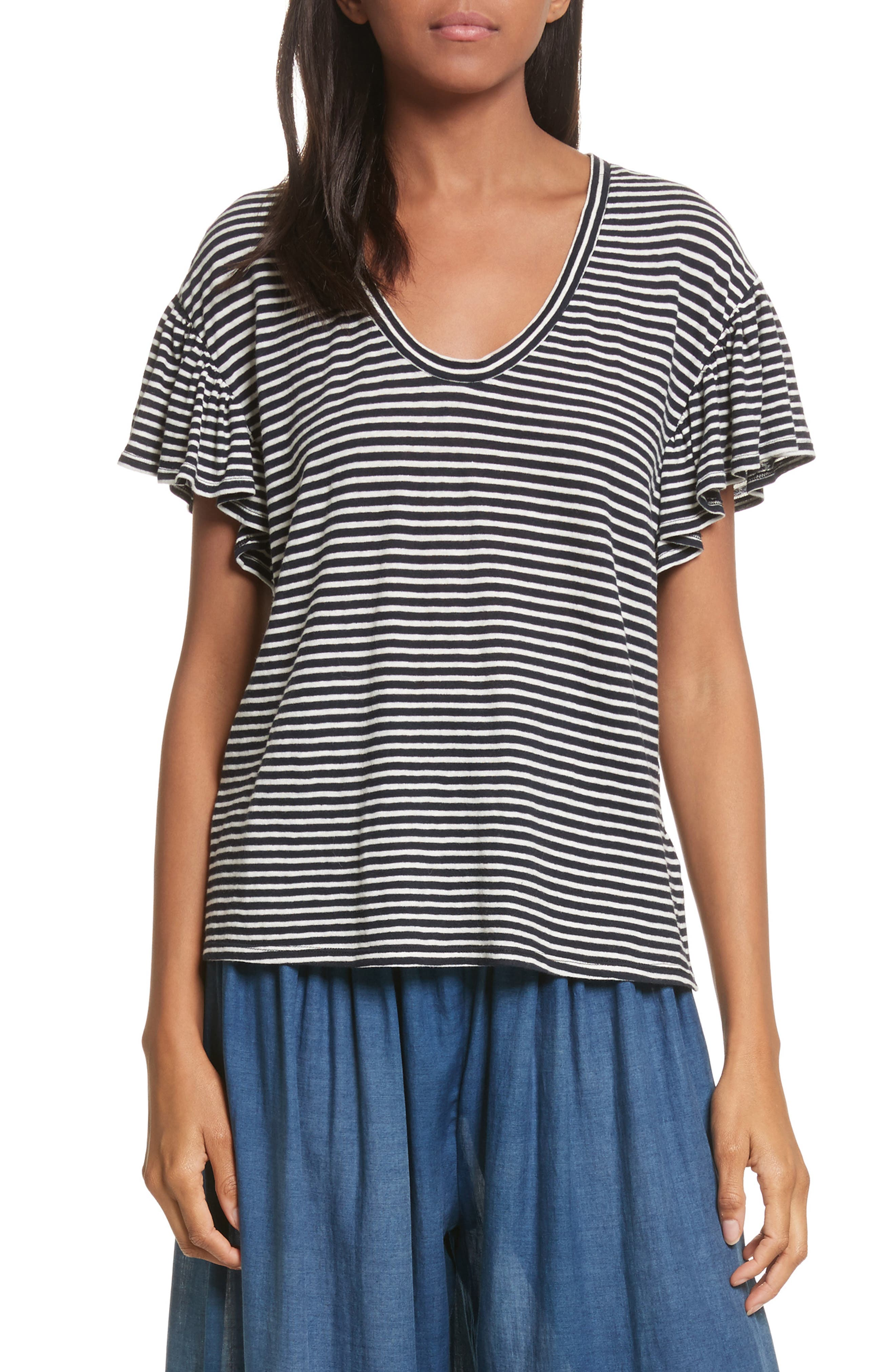 Stripe Jersey Top,                         Main,                         color, Navy Combo