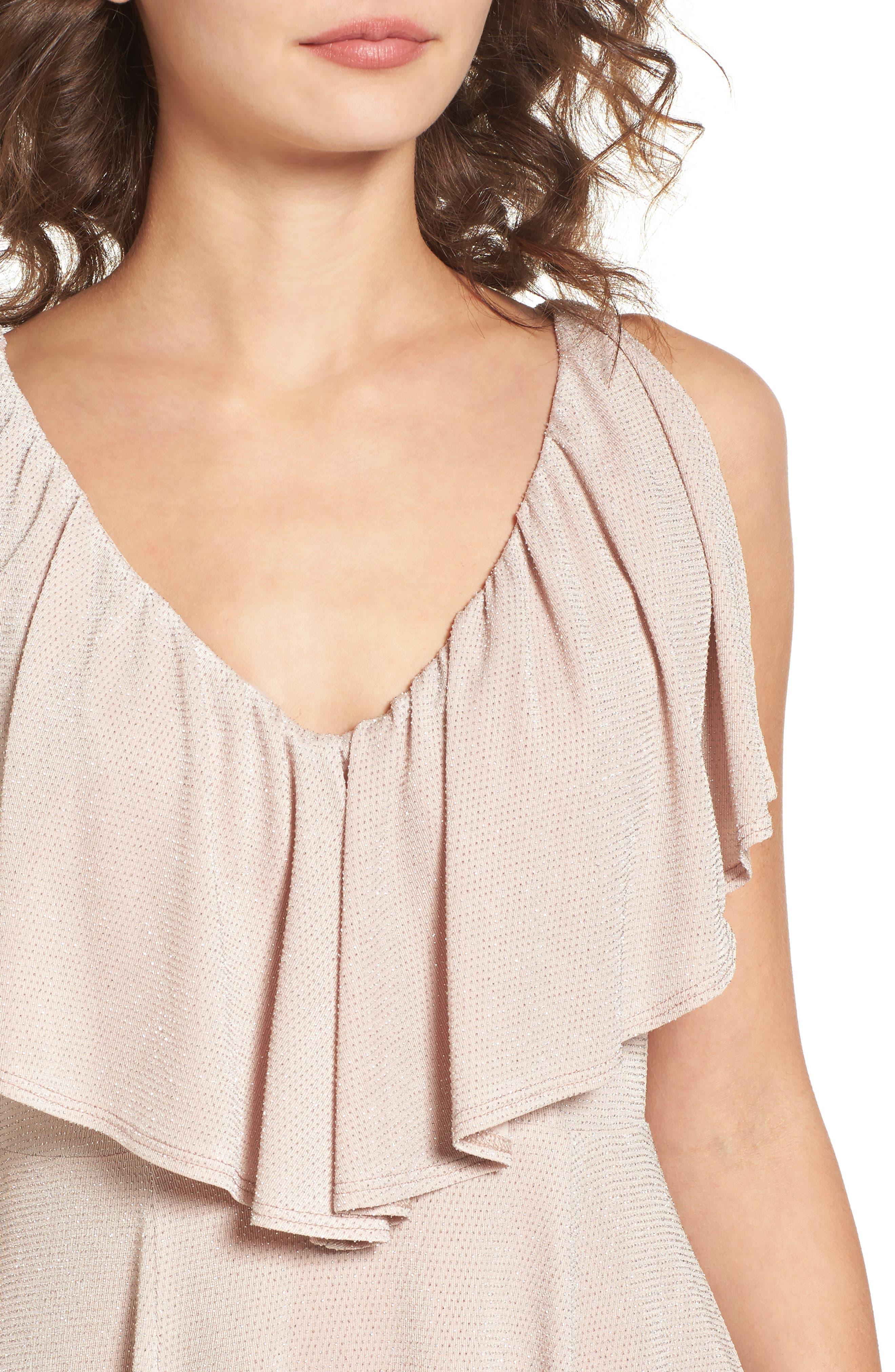 Daphne Ruffle Minidress,                             Alternate thumbnail 4, color,                             Dancing Queen Shine Blush