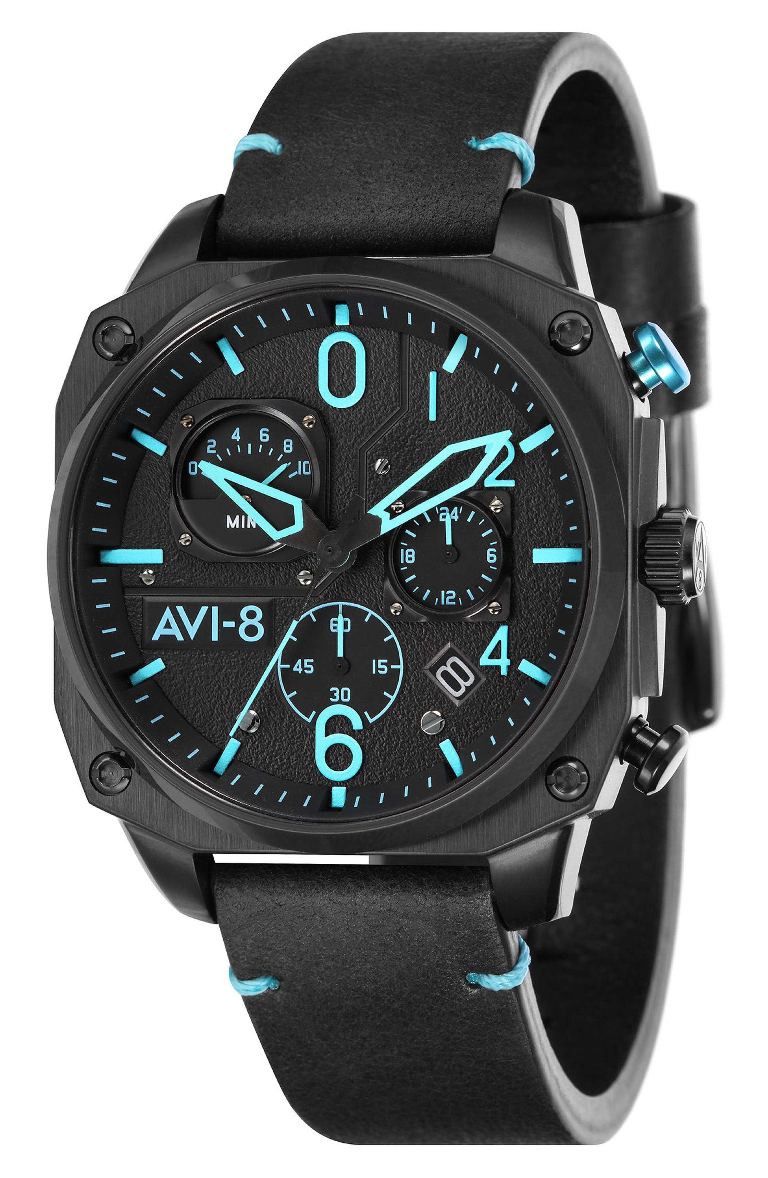 Hawker Hunter Chronograph Leather Strap Watch, 45mm,                         Main,                         color, Black/ Light Blue/ Black