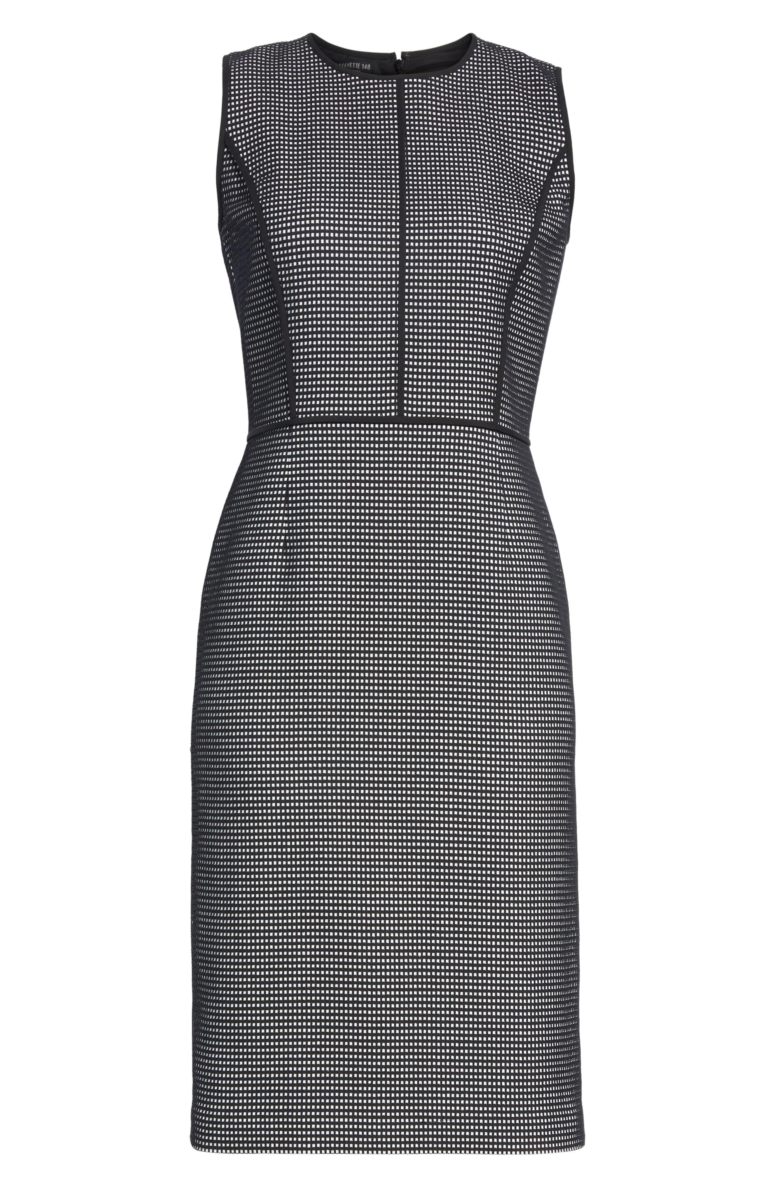 Bree Check Sheath Dress,                             Alternate thumbnail 7, color,                             Black Multi