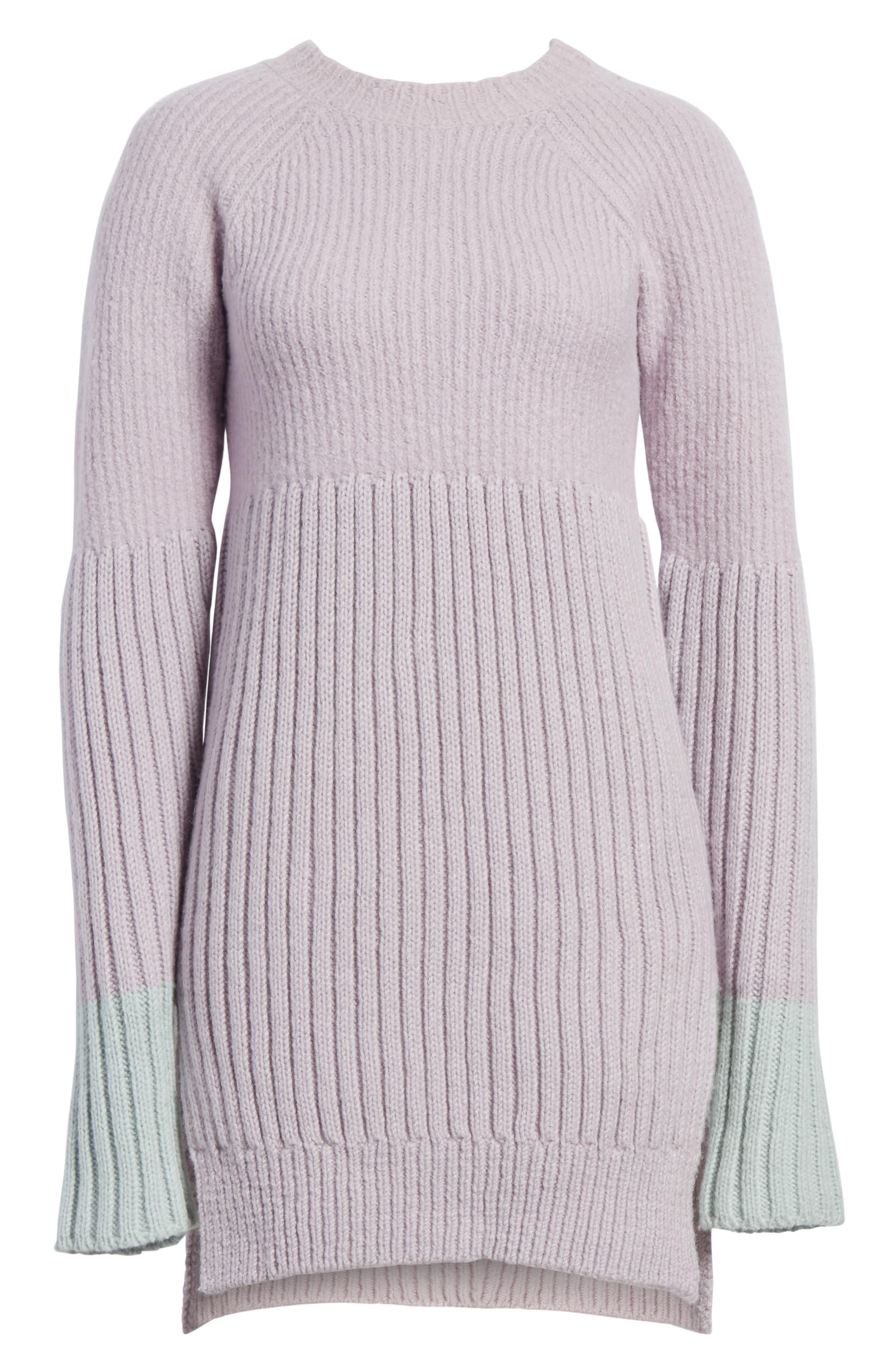 Wool Tunic Sweater,                             Alternate thumbnail 6, color,                             Lavendar