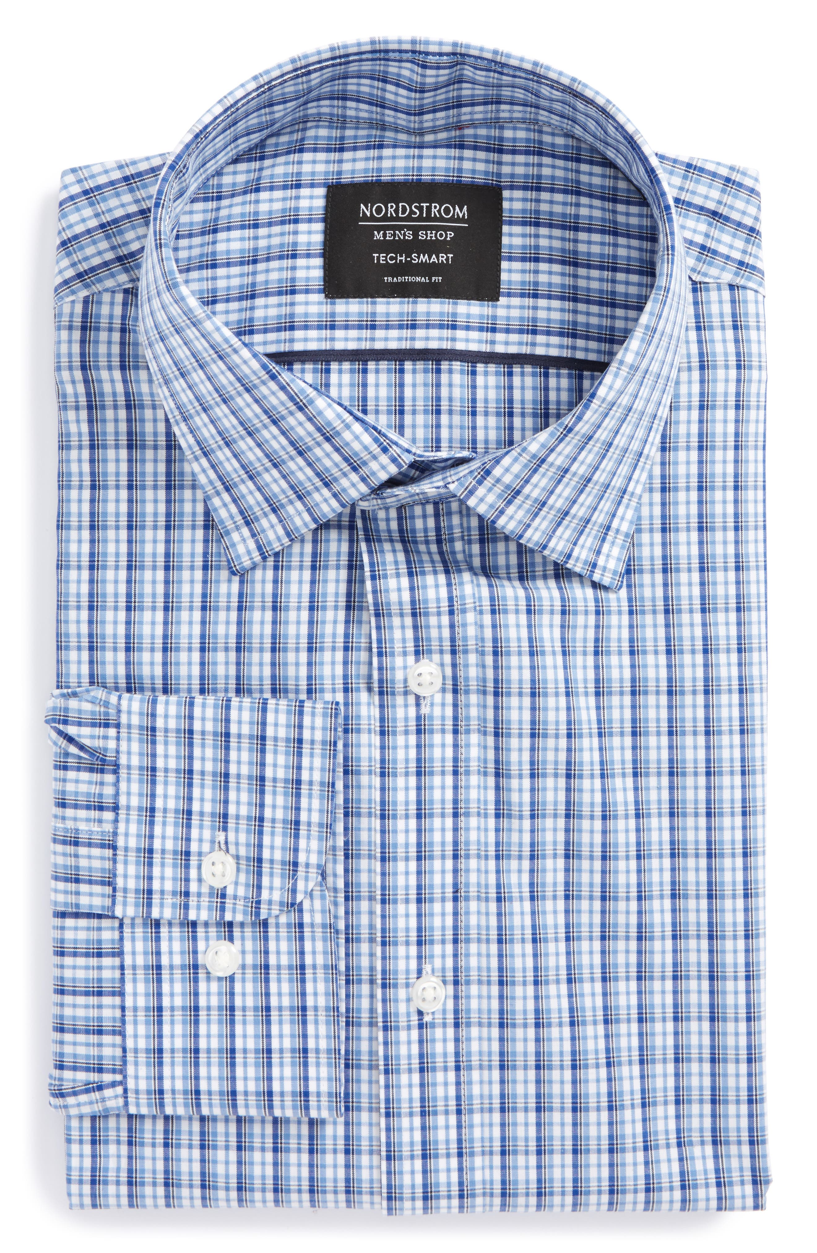 Tech-Smart Traditional Fit Stretch Plaid Dress Shirt,                             Alternate thumbnail 5, color,                             Blue True