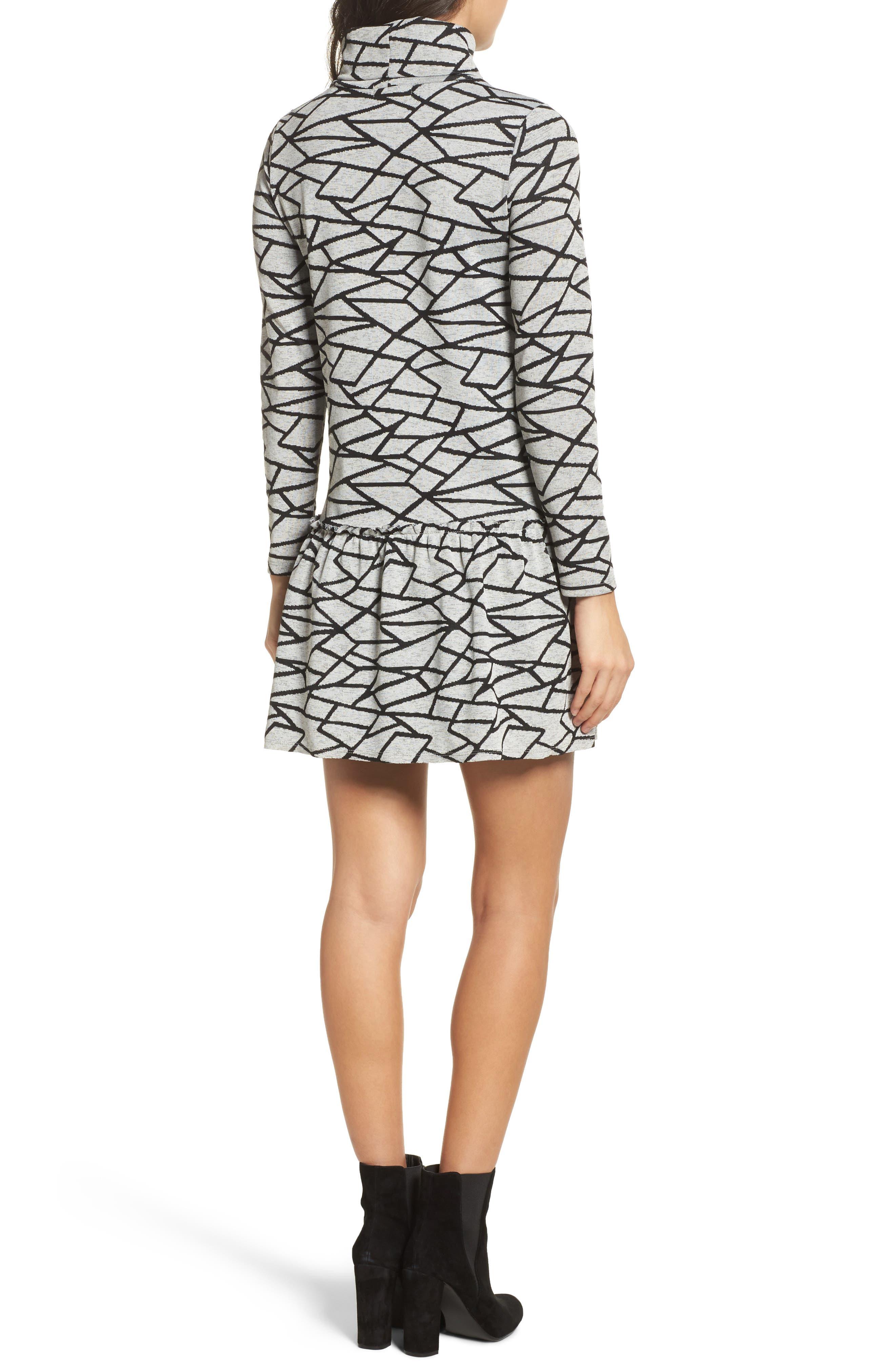 Turtleneck Sweater Dress,                             Alternate thumbnail 2, color,                             Black