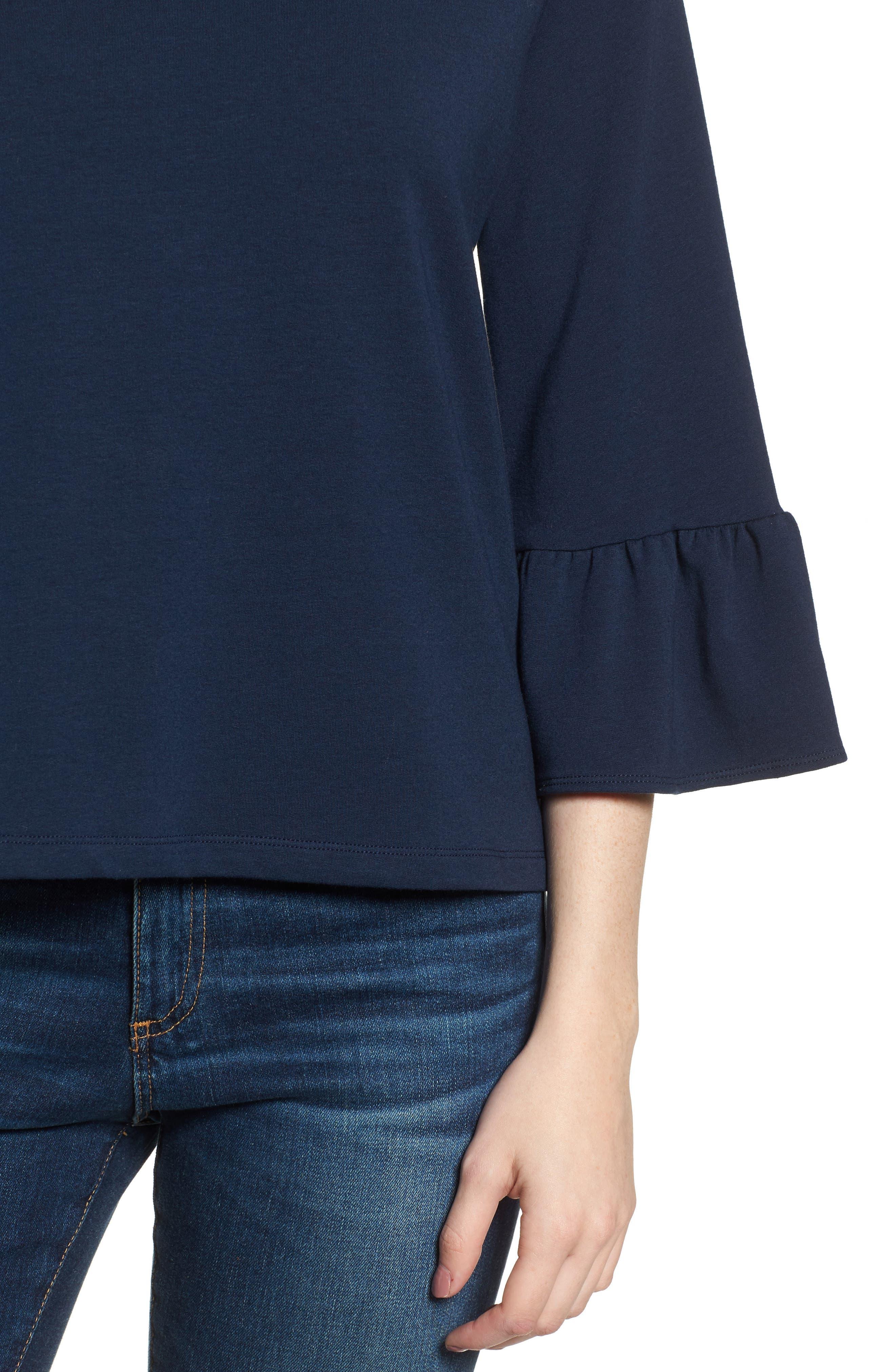 Bernadette Bell Sleeve Sweatshirt,                             Alternate thumbnail 4, color,                             Navy