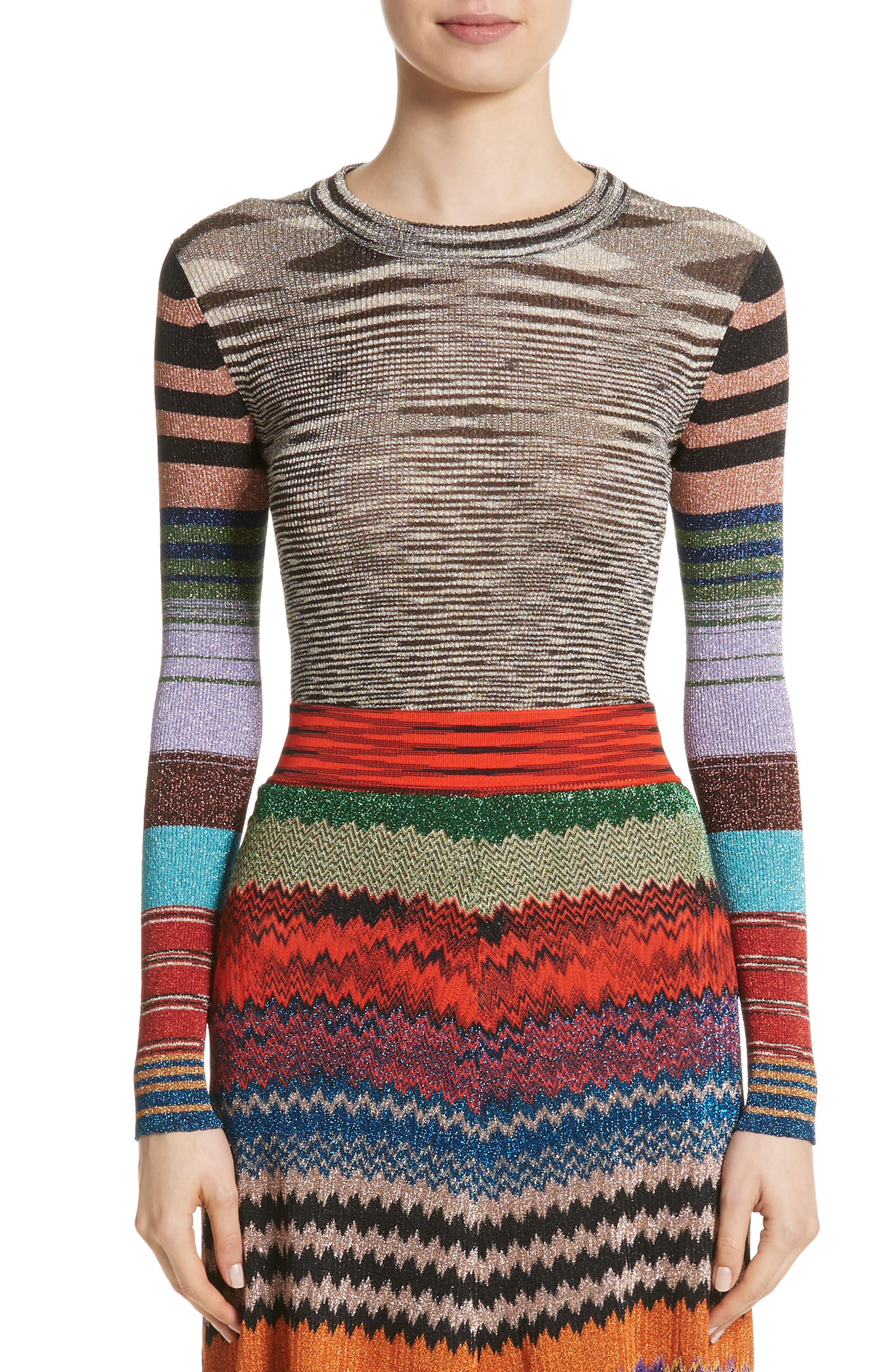 Metallic Space Dye Knit Sweater,                             Main thumbnail 1, color,                             Multi