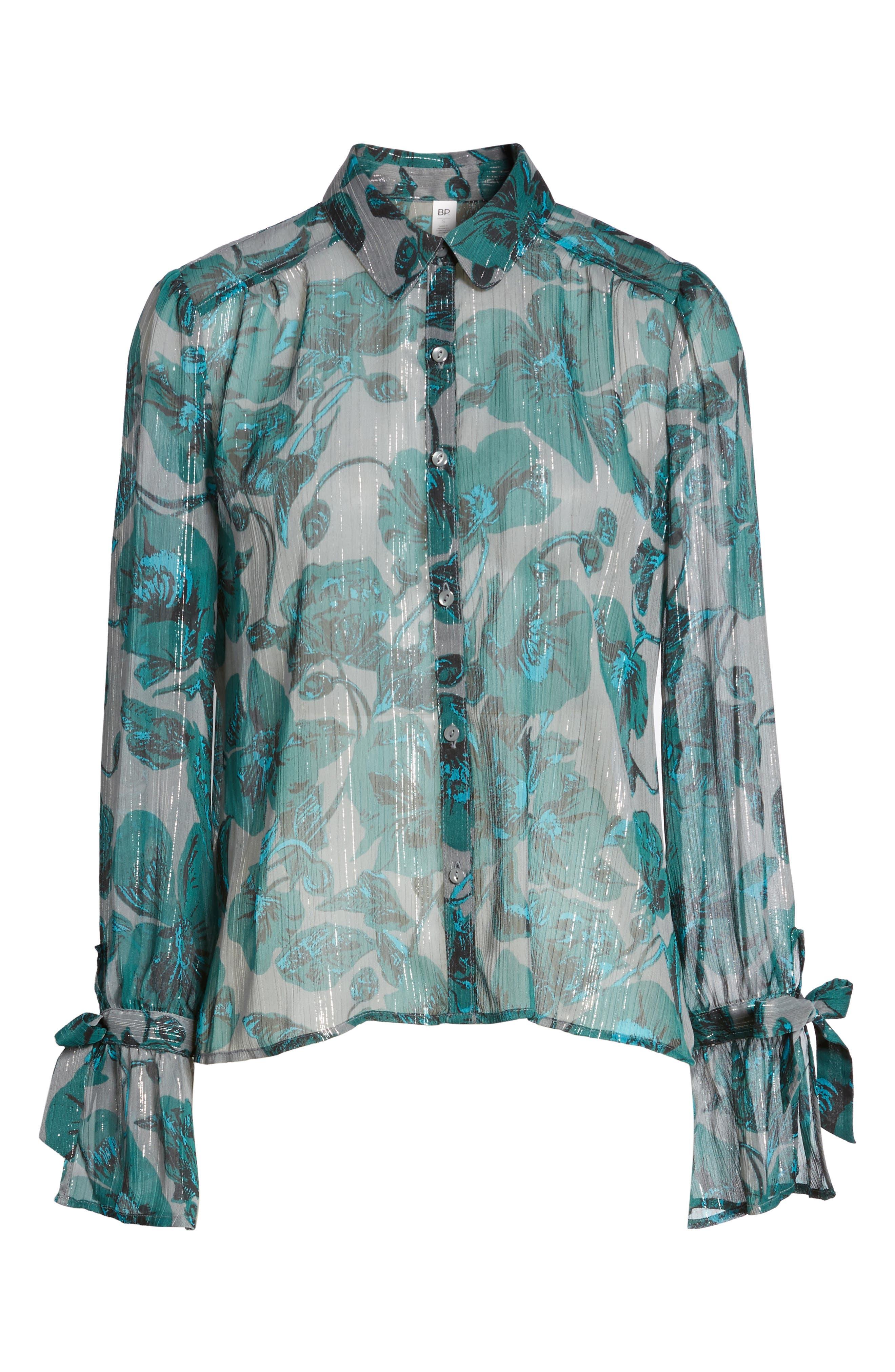Alternate Image 6  - BP. Sheer Metallic Floral Shirt