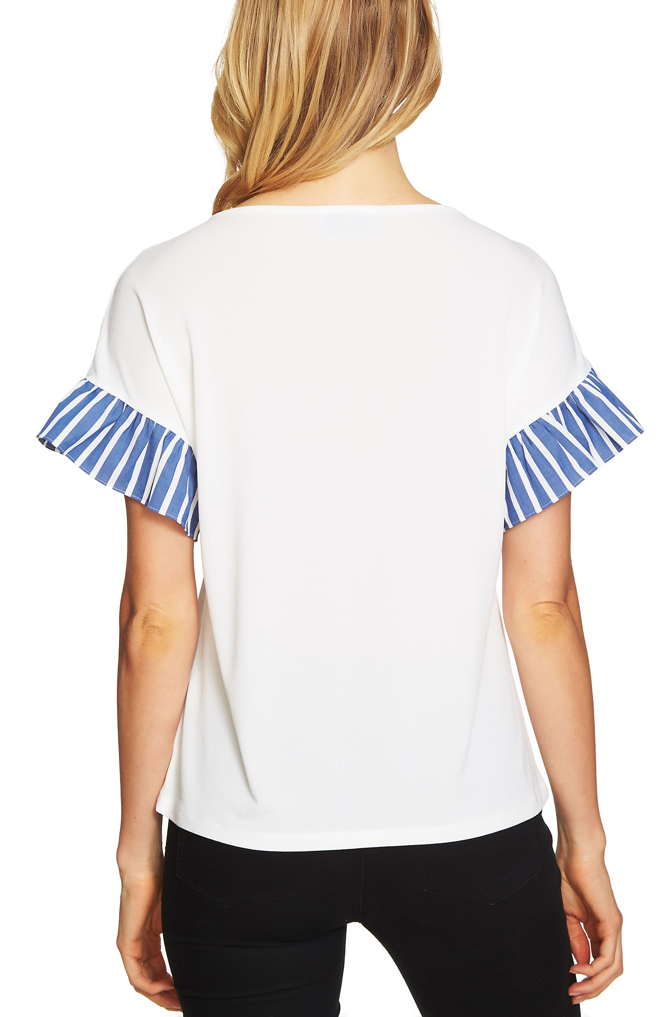 Alternate Image 2  - CeCe Stripe Ruffle Sleeve Top