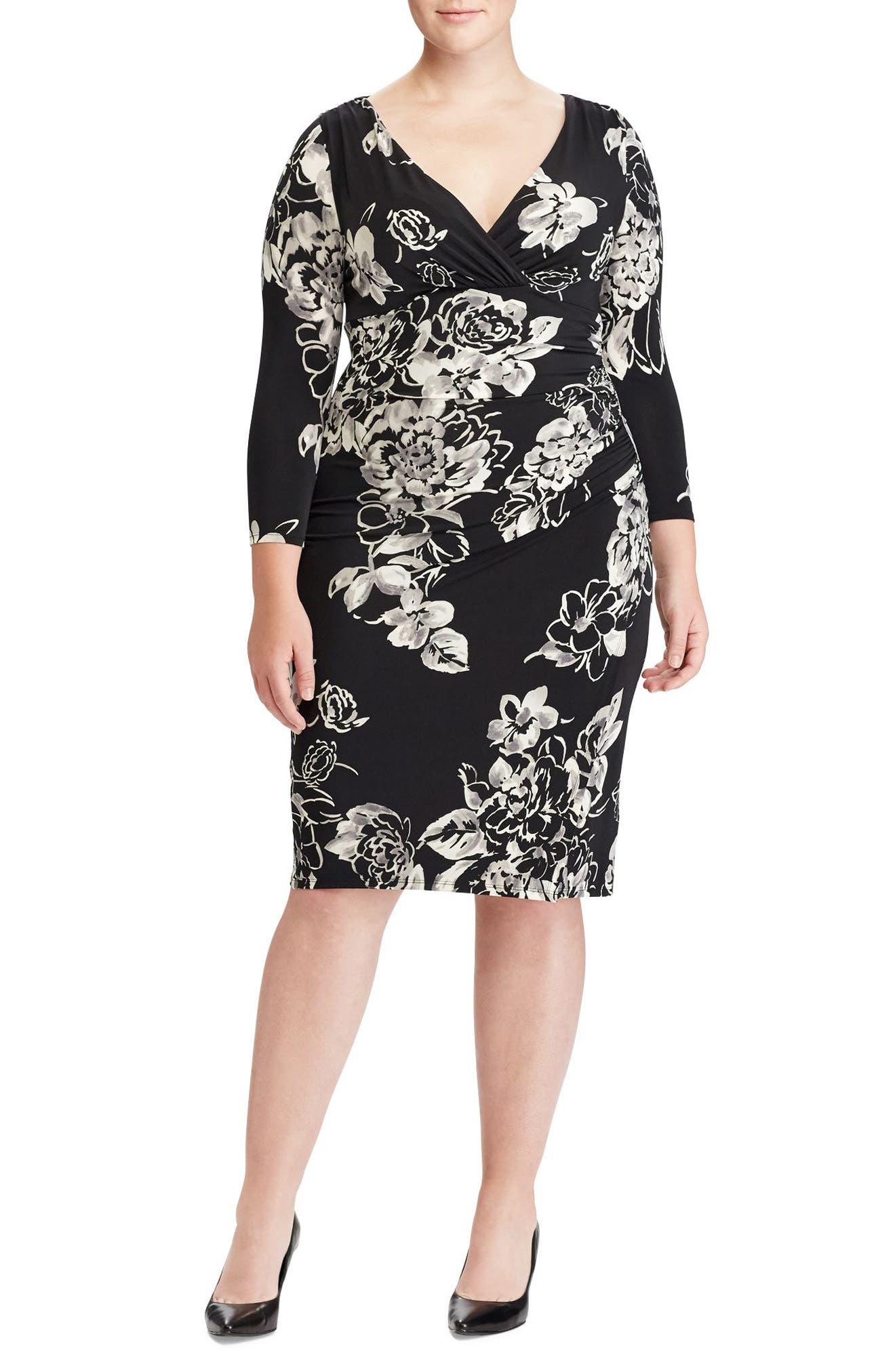 Floral Faux Wrap Jersey Dress,                             Main thumbnail 1, color,                             Black/ Grey/ Multi