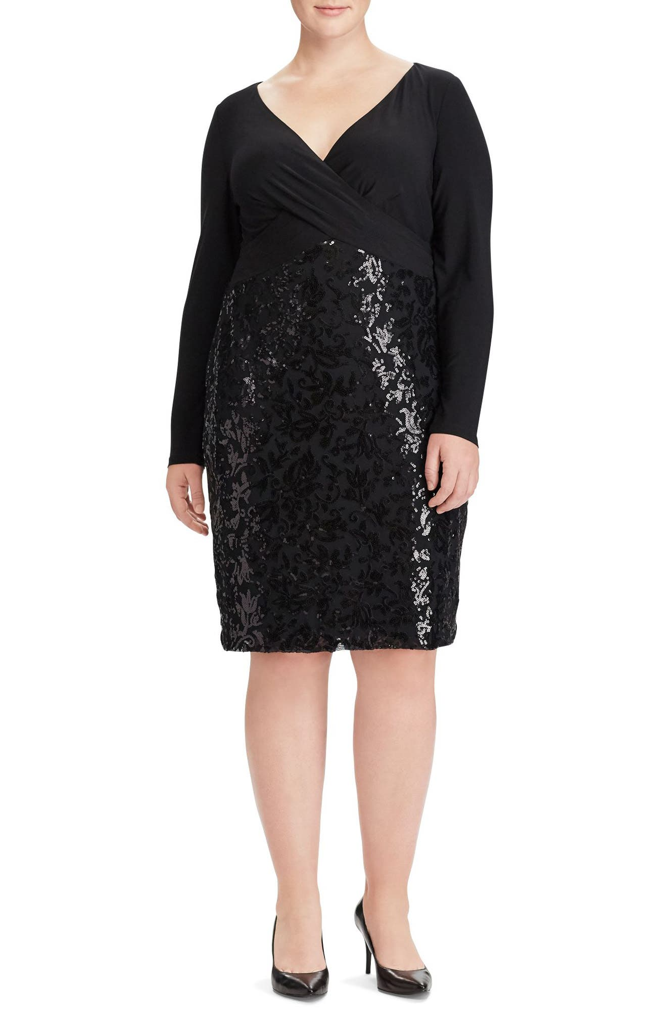 Lauren Ralph Lauren Adelen Faux Wrap Sequin Dress (Plus Size)