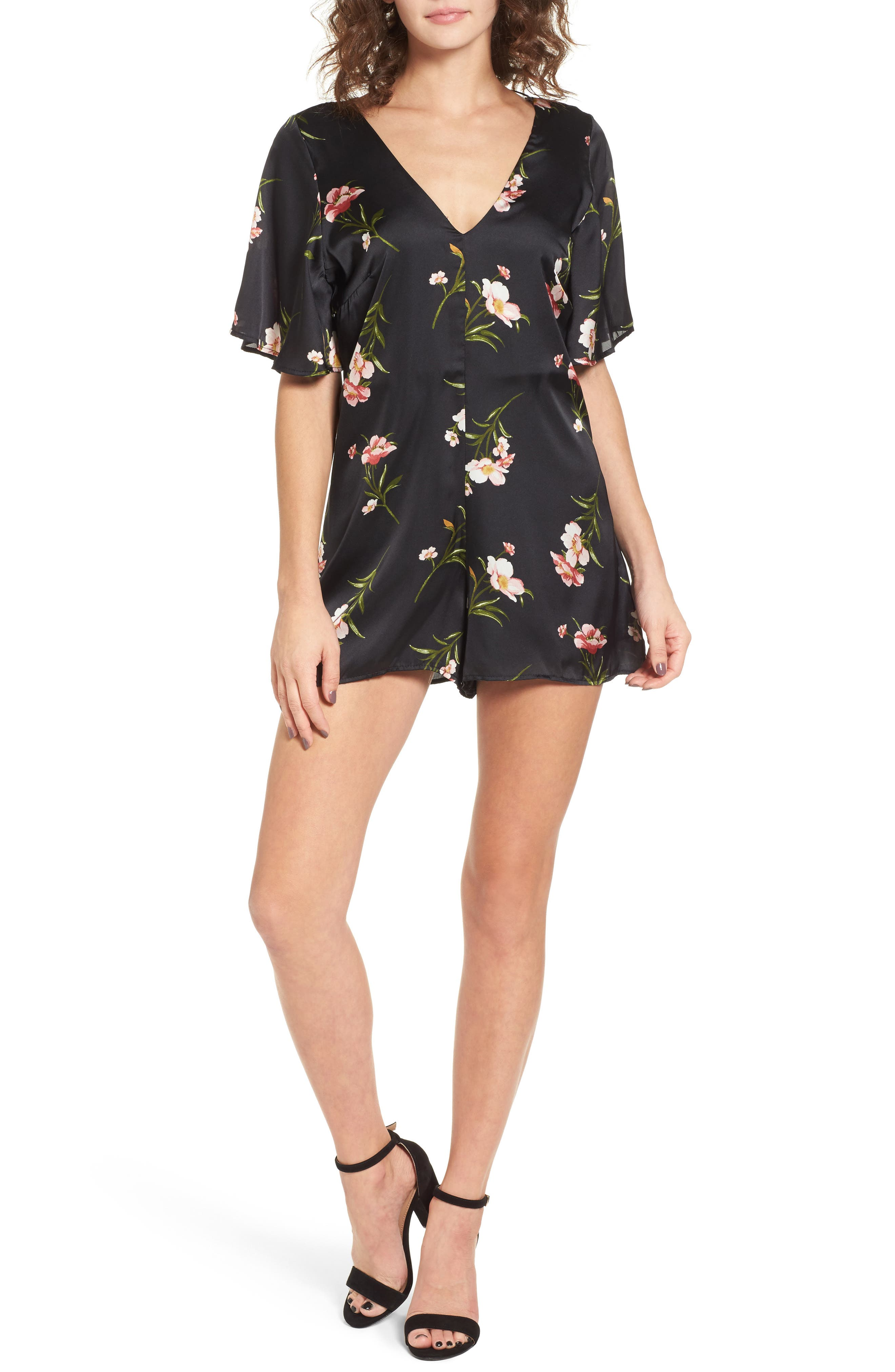 Alternate Image 1 Selected - Dee Elly Strappy Satin Romper