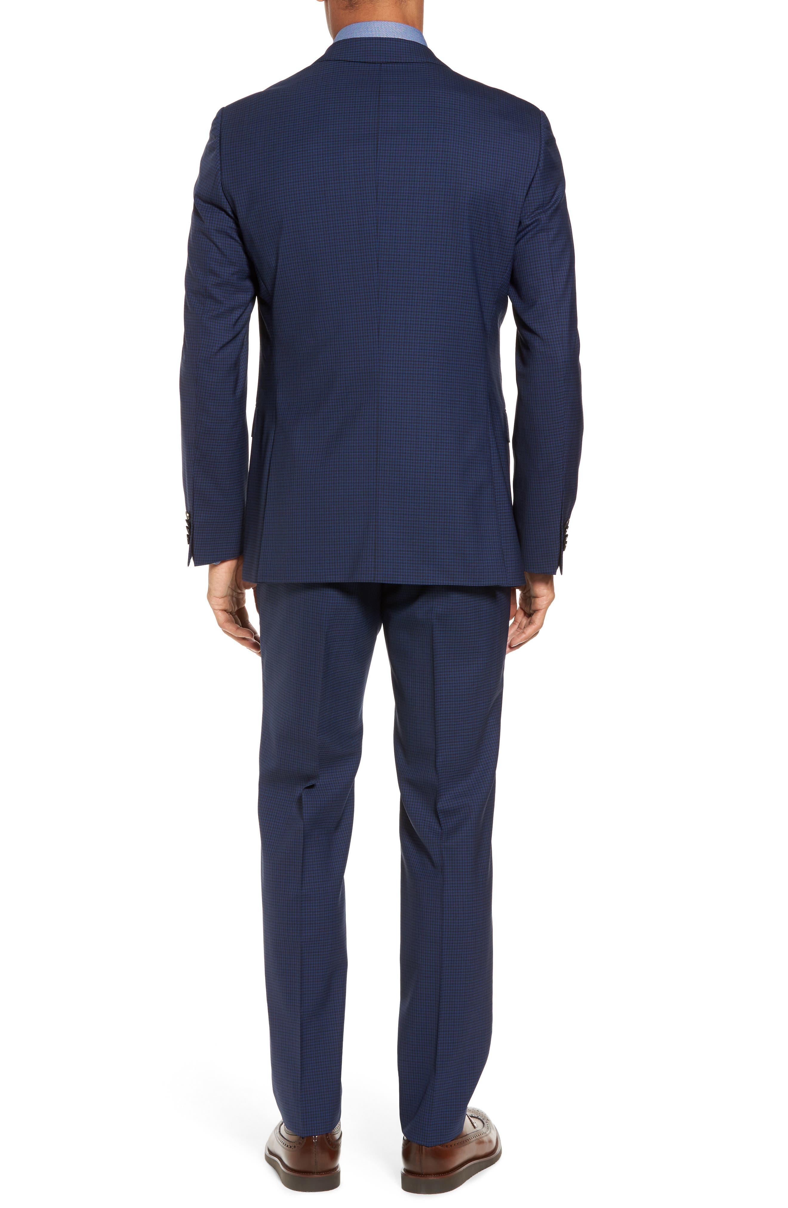 Novan/Ben Trim Fit Check Wool Suit,                             Alternate thumbnail 2, color,                             Dark Blue