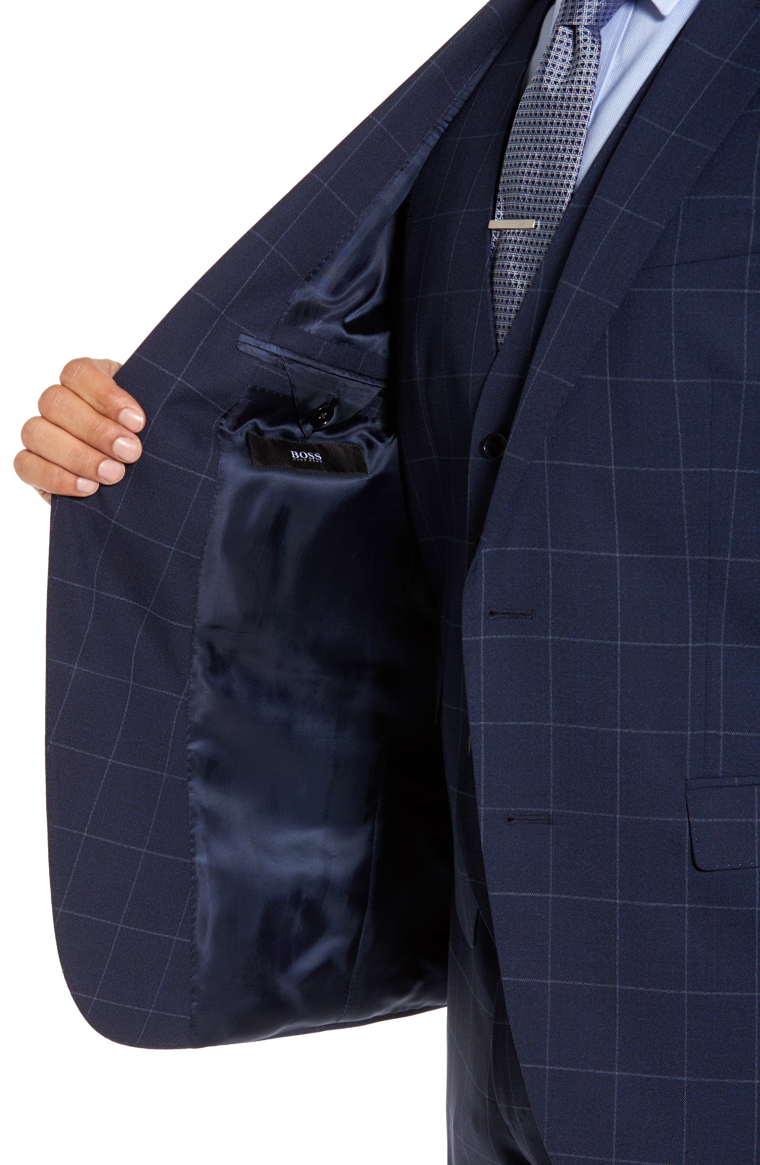 Huge/Genius Trim Fit Three Piece Windowpane Wool Suit,                             Alternate thumbnail 4, color,                             Navy